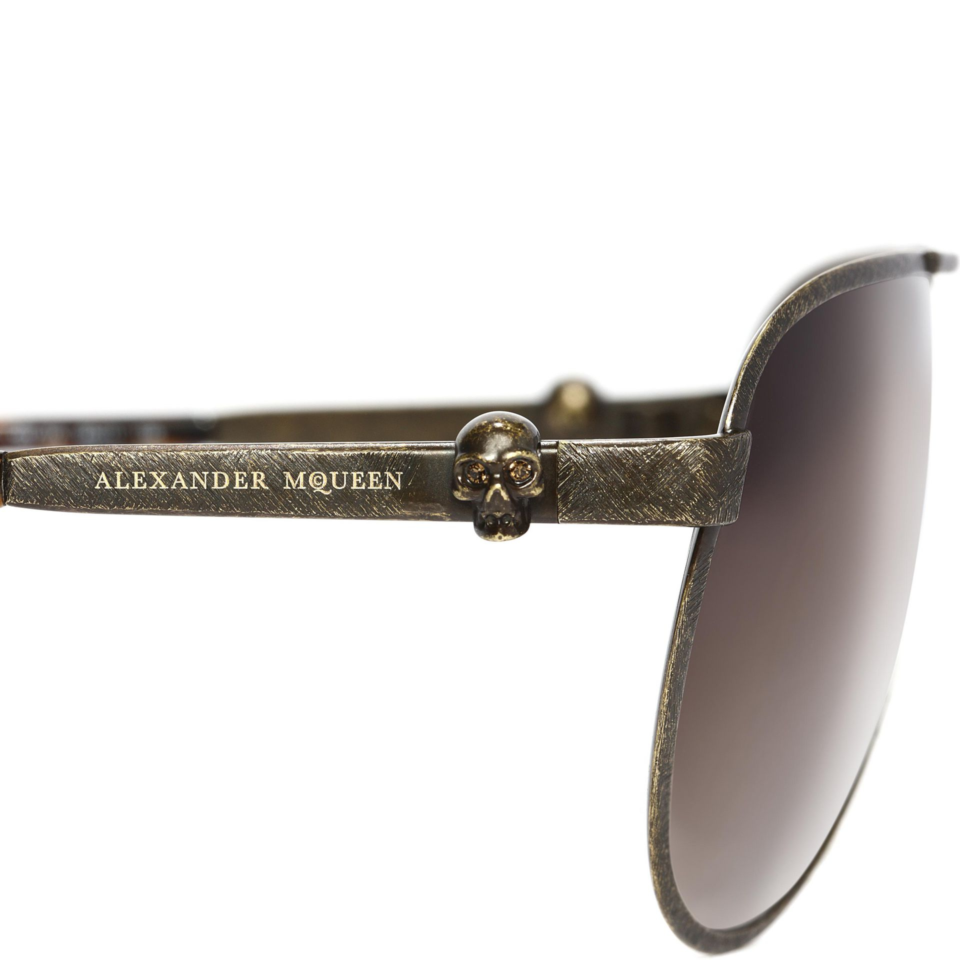 Mens Alexander Mcqueen Sunglasses  alexander mcqueen metallic skull pilot sunglasses in brown for men