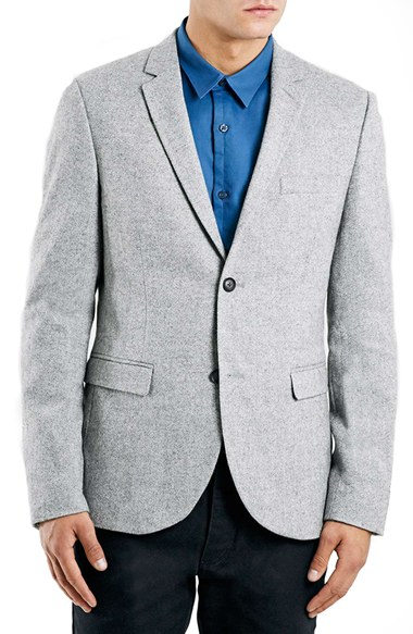 Topman Skinny Fit Grey Suit Jacket in Gray for Men | Lyst