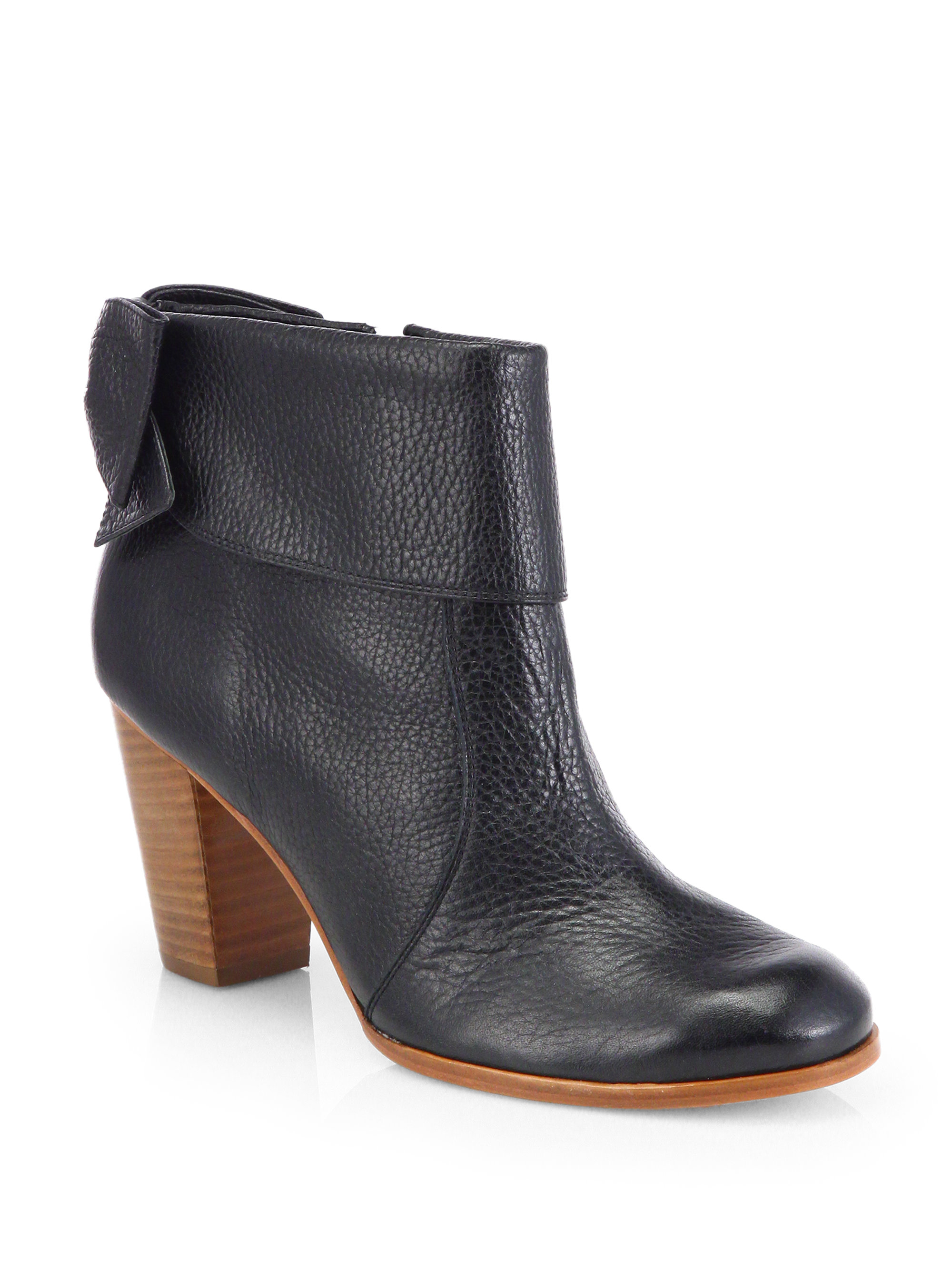 kate spade lanise bow leather ankle boots in black lyst