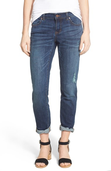 Caslon Caslon Distressed Stretch Crop Boyfriend Jeans in Blue | Lyst