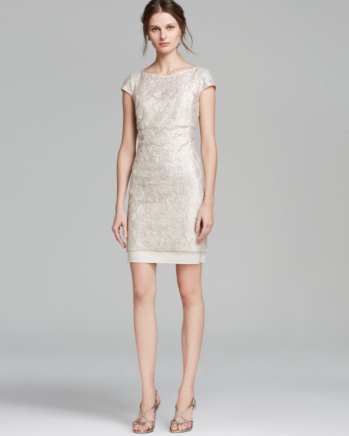493fa65c Kay Unger Dress Cap Sleeve Metallic Lace Sheath in Natural - Lyst