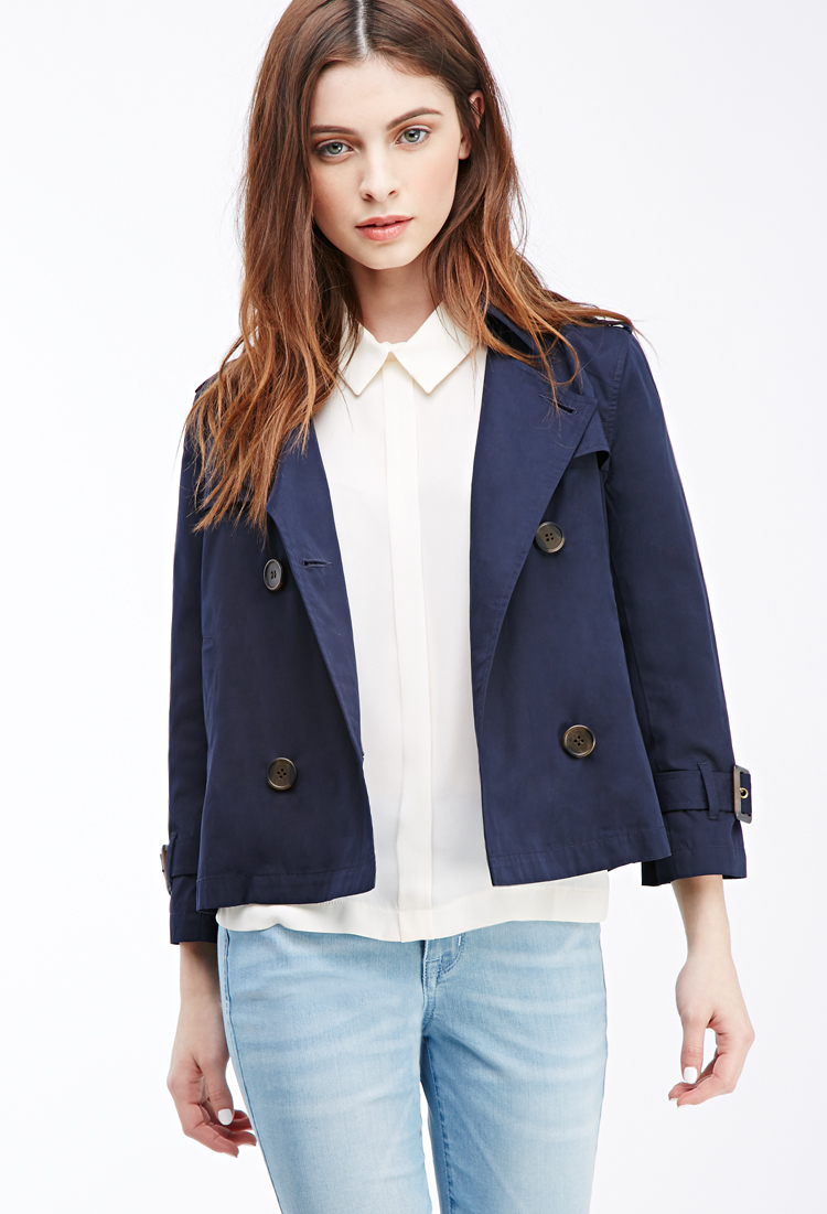 Blue Coat Forever 21 In Trench Cropped Lyst 6ohtqu FTJK1cl