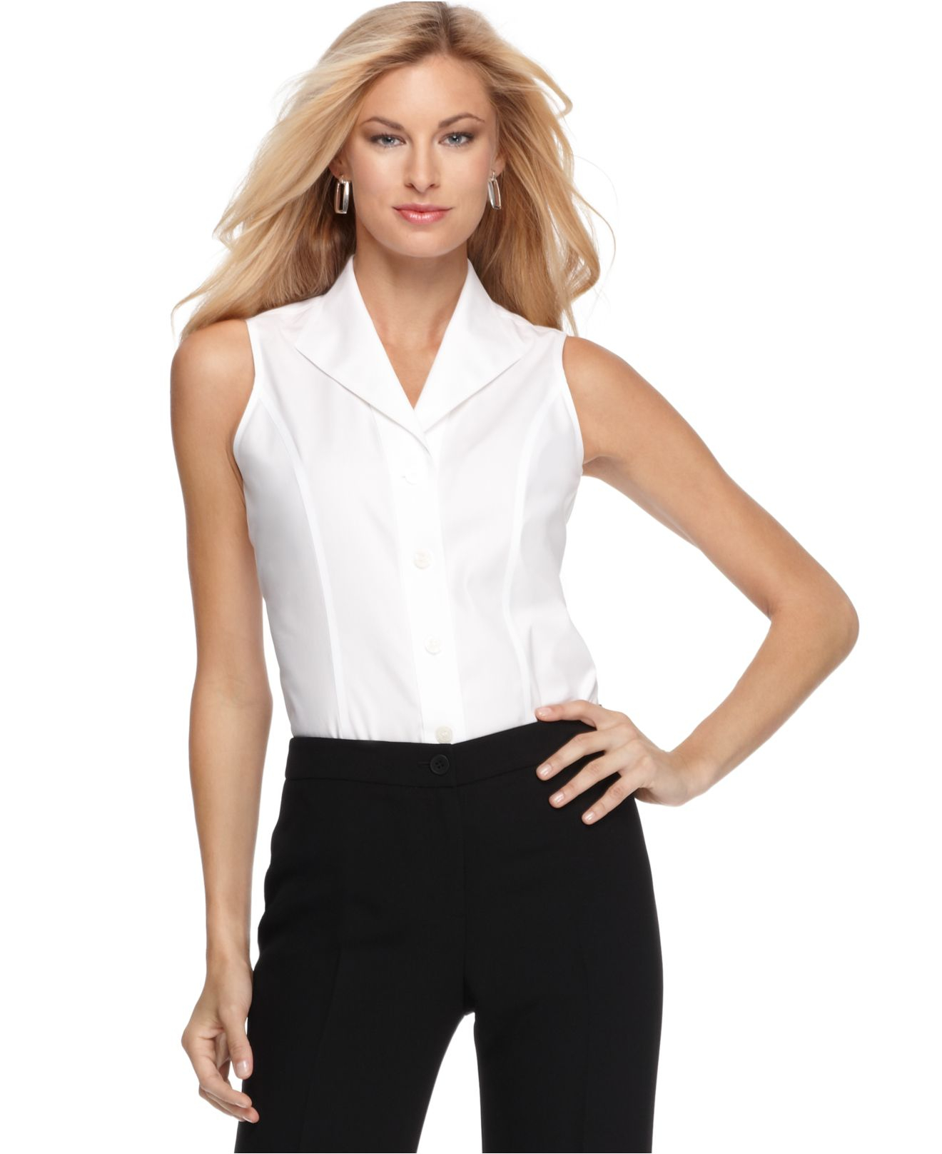Lyst jones new york sleeveless wrinkle resistant shirt Wrinkle free shirts for women