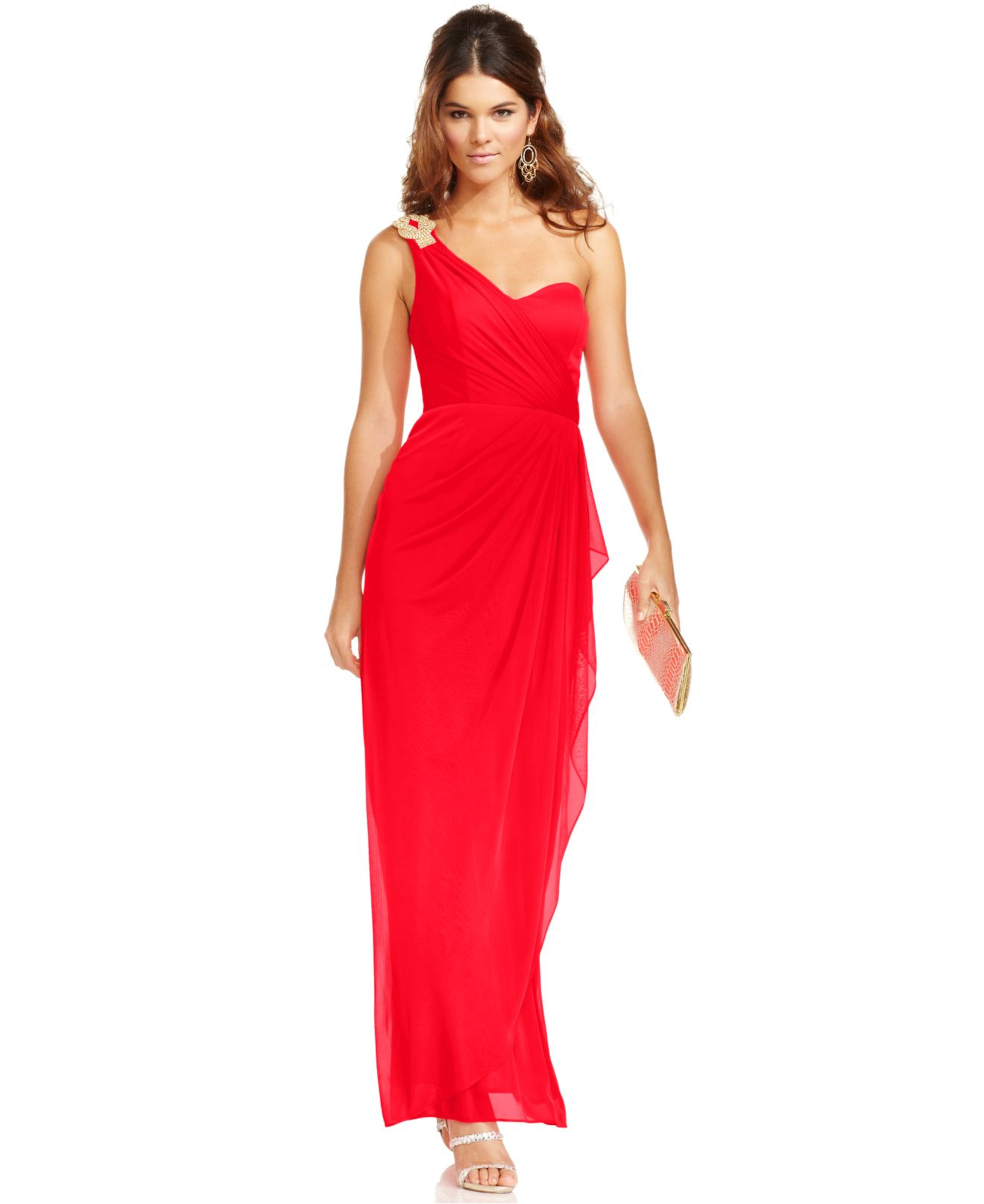 31dc4a01 Xscape Petite Dress, Sleeveless One-Shoulder Jeweled Gown in Red - Lyst