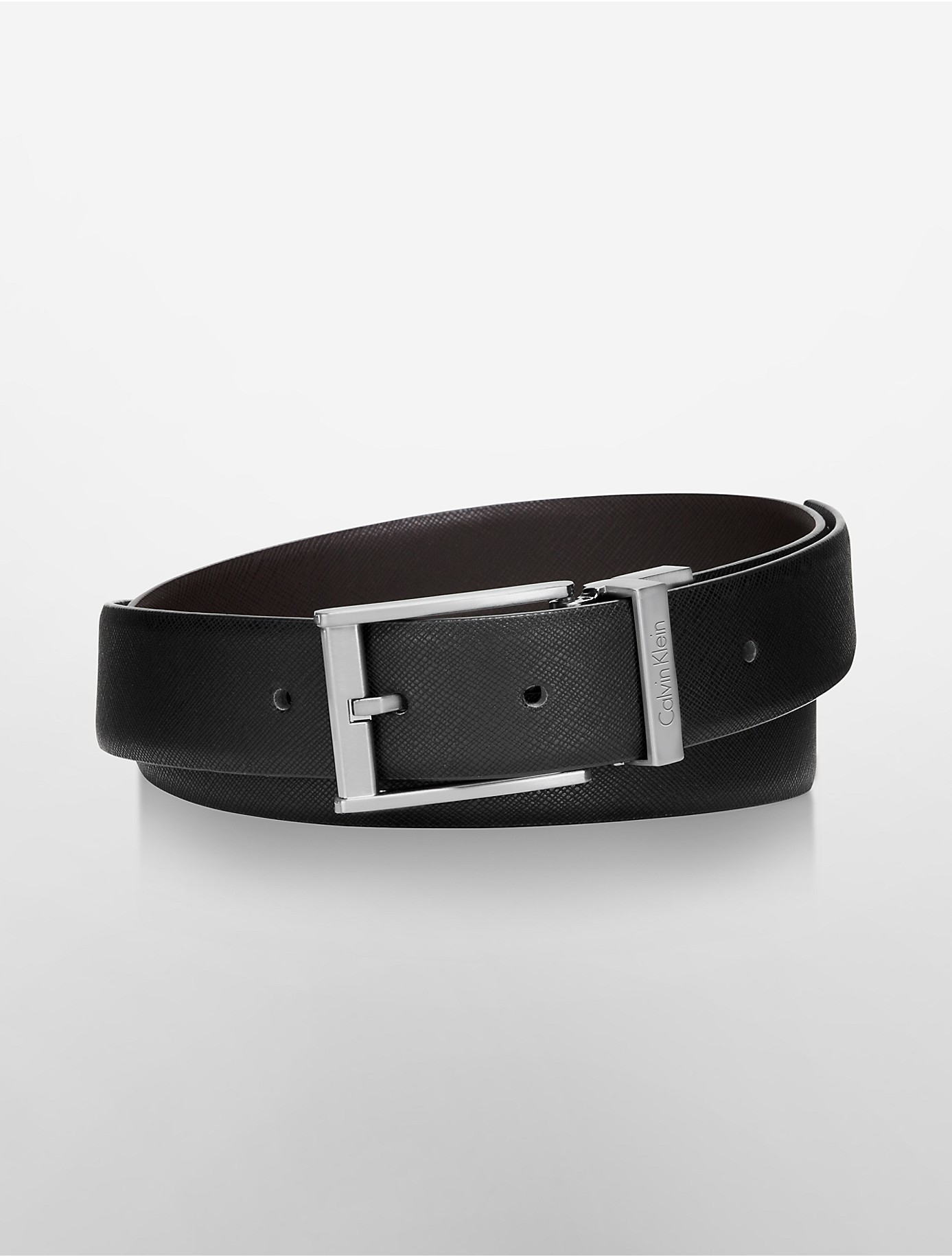calvin klein reversible saffiano leather belt in black for