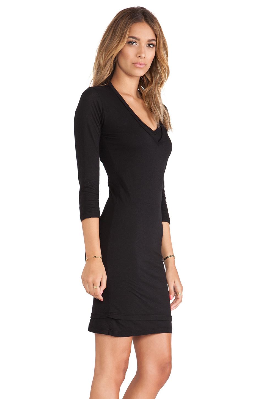 Double v black dress