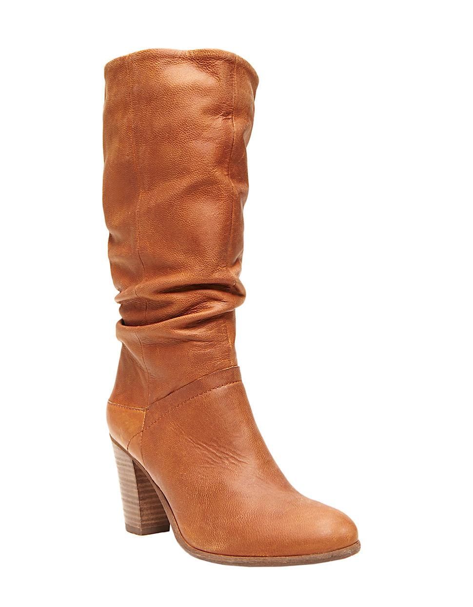 steve madden lorreta high heel leather boots in brown lyst