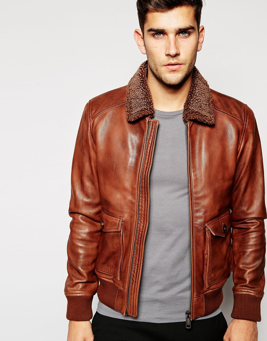 Esprit Leather Flight Jacket With Sherpa Collar in Brown for Men