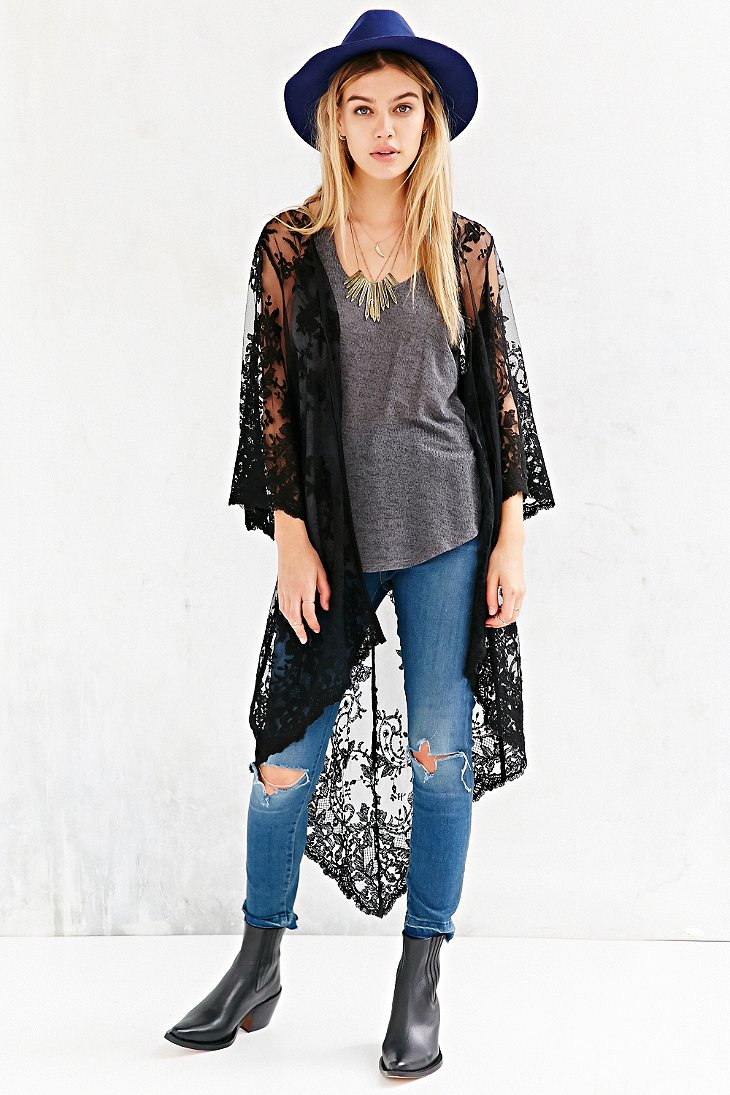 Kimchi blue Lace Overlay Cardigan Sweater in Black | Lyst
