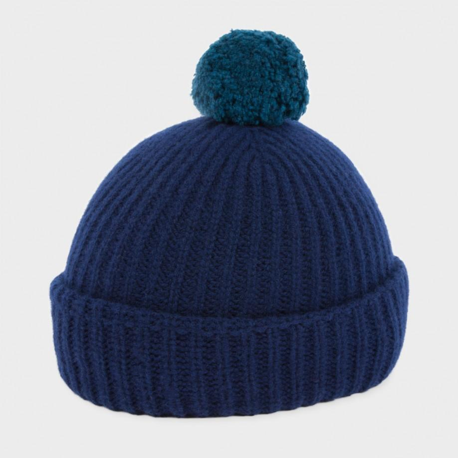 75edb0194a8e6 Lyst - Paul Smith Men s Navy Lambswool Bobble Hat in Blue for Men