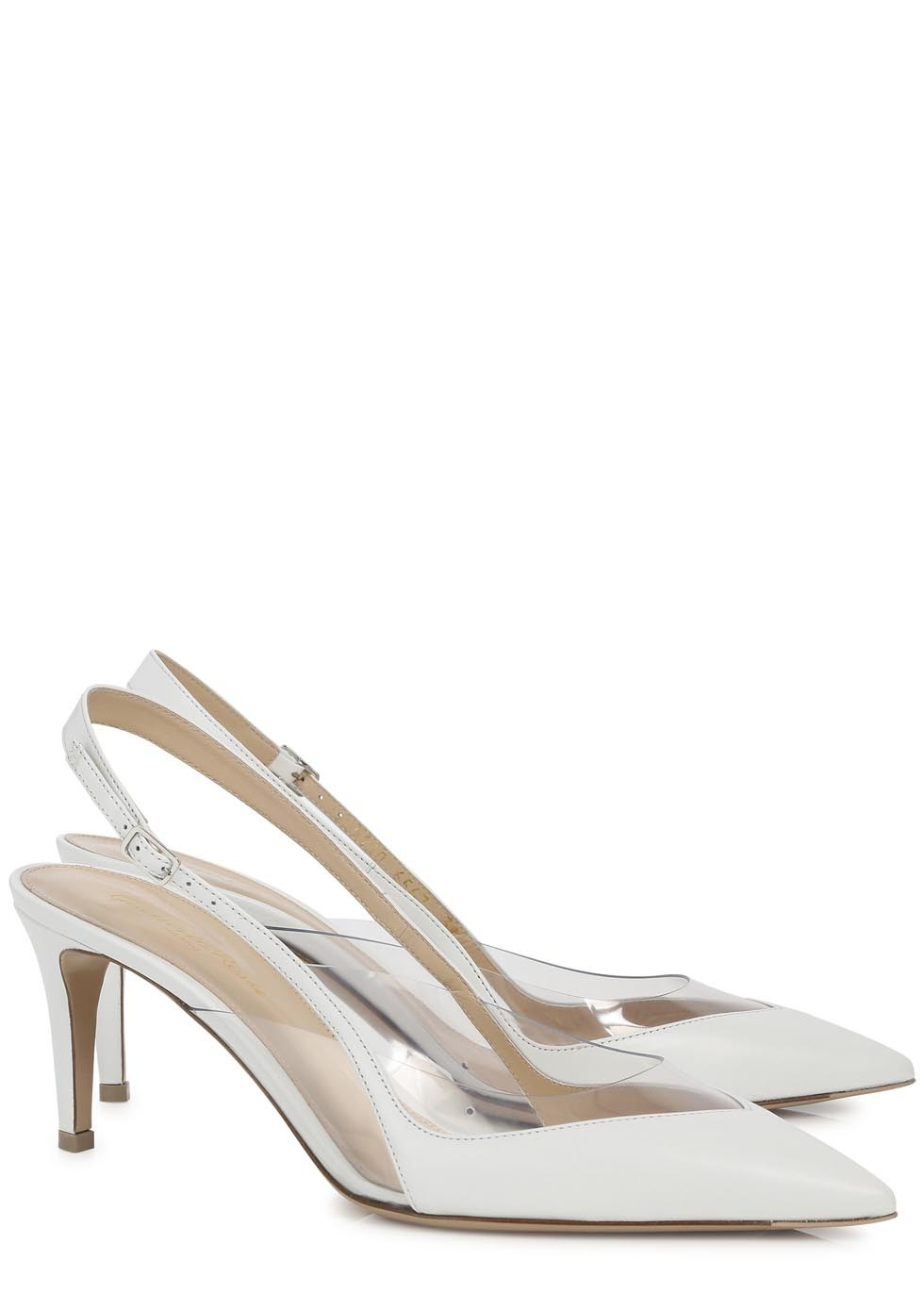 0701c601786 Gianvito Rossi White Perspex and Leather Slingback Pumps in White - Lyst