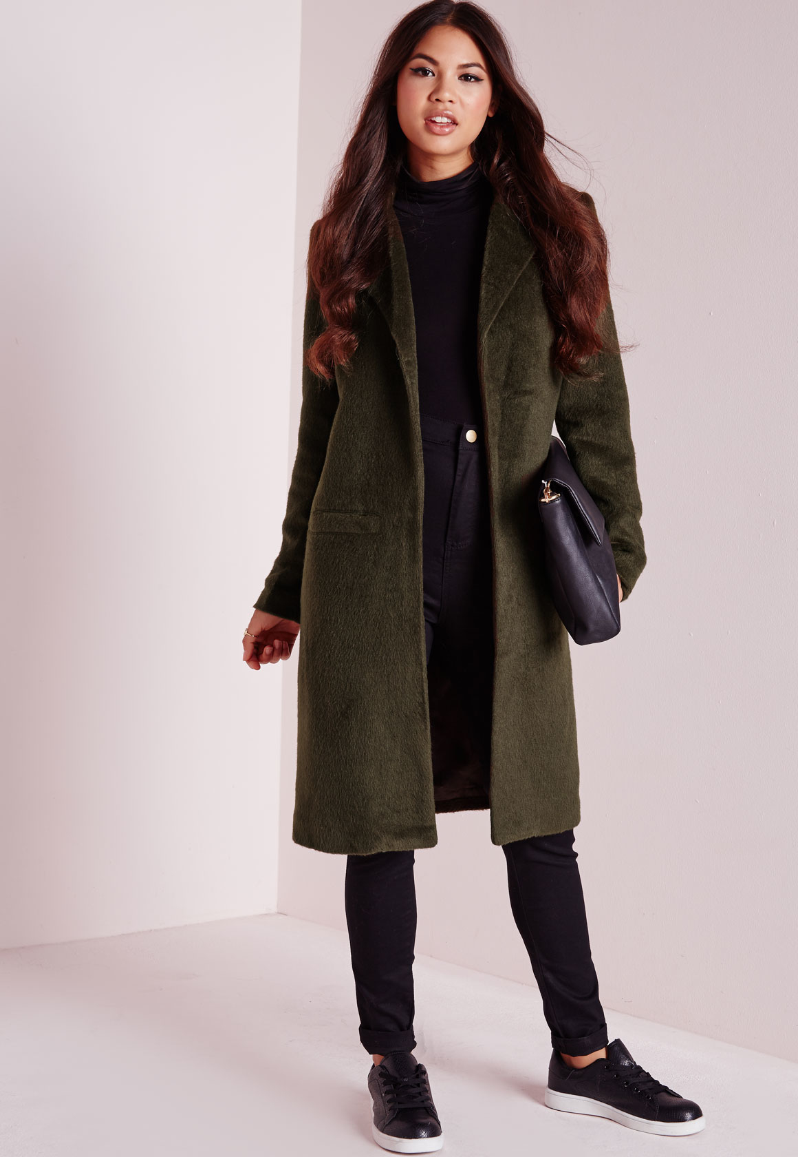 missguided brushed wool coat khaki in natural lyst #2: missguided khaki brushed wool coat khaki product 1 normal