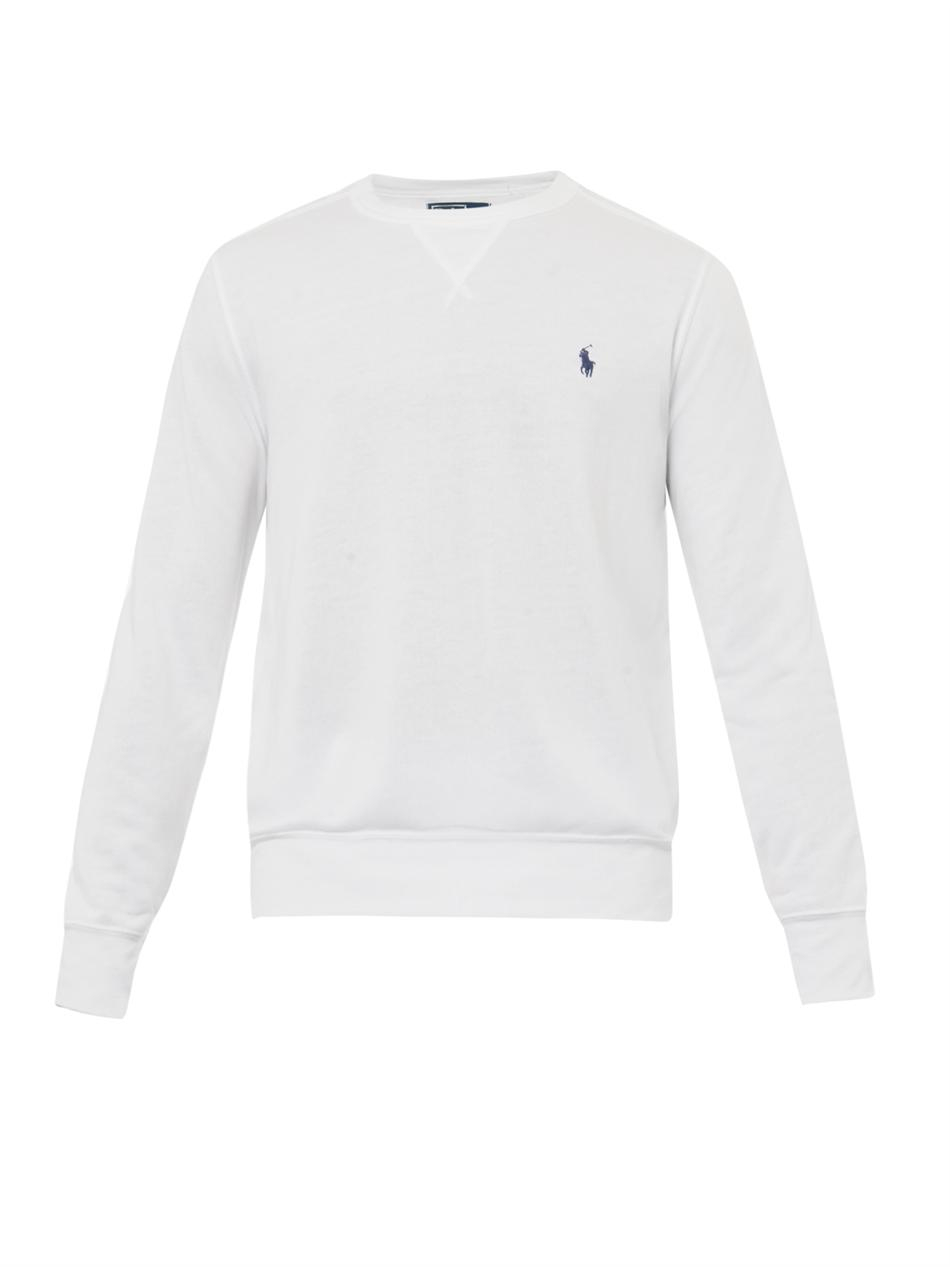 polo ralph lauren atlantic terry crew neck sweatshirt in white for men lyst. Black Bedroom Furniture Sets. Home Design Ideas