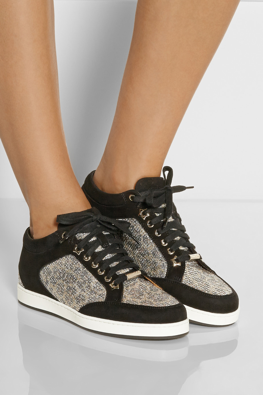 Jimmy Choo Miami Lace-Paneled Suede Sneakers in Metallic - Lyst 3b2f3e410