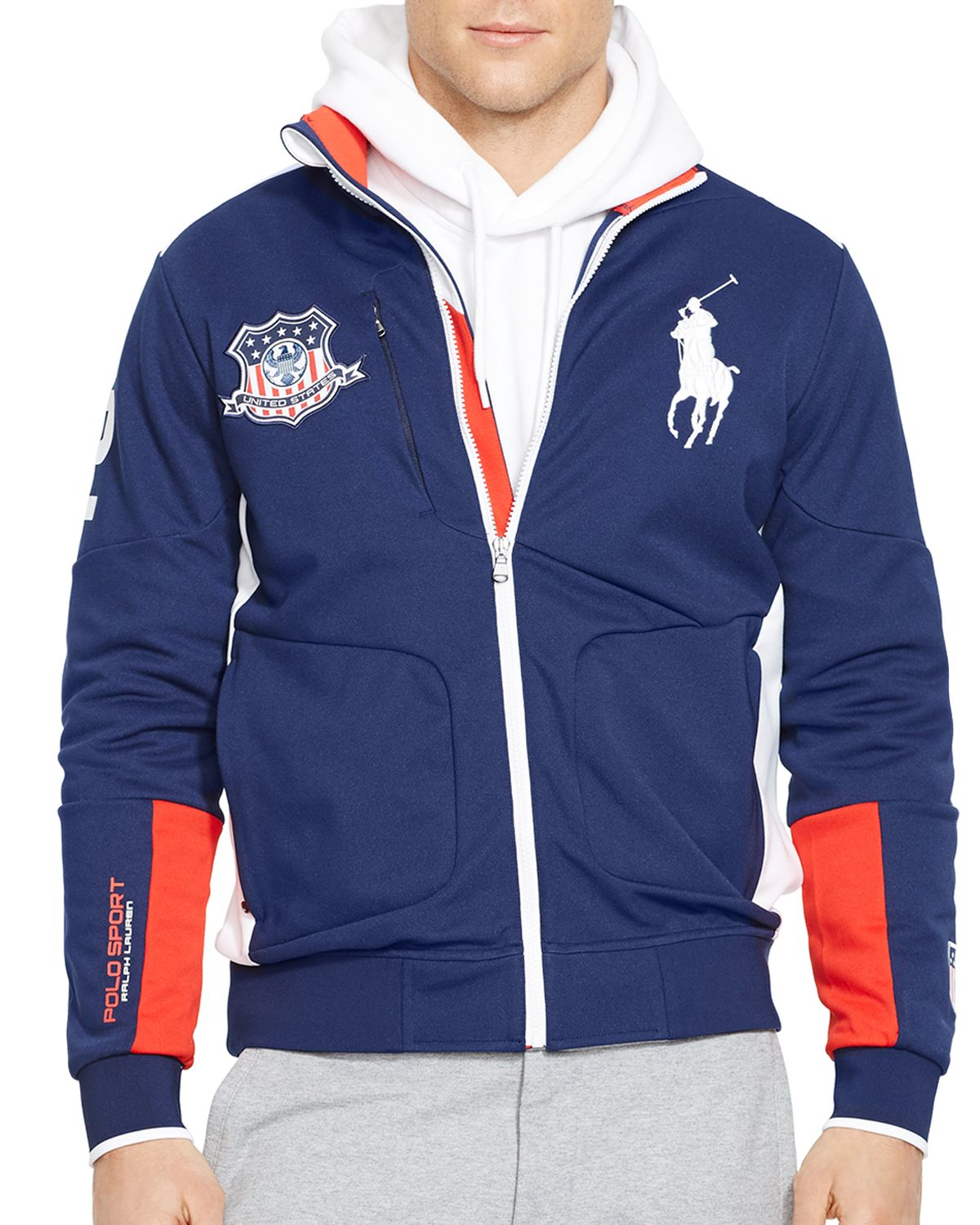 ralph lauren polo sport usa full zip track jacket in blue. Black Bedroom Furniture Sets. Home Design Ideas