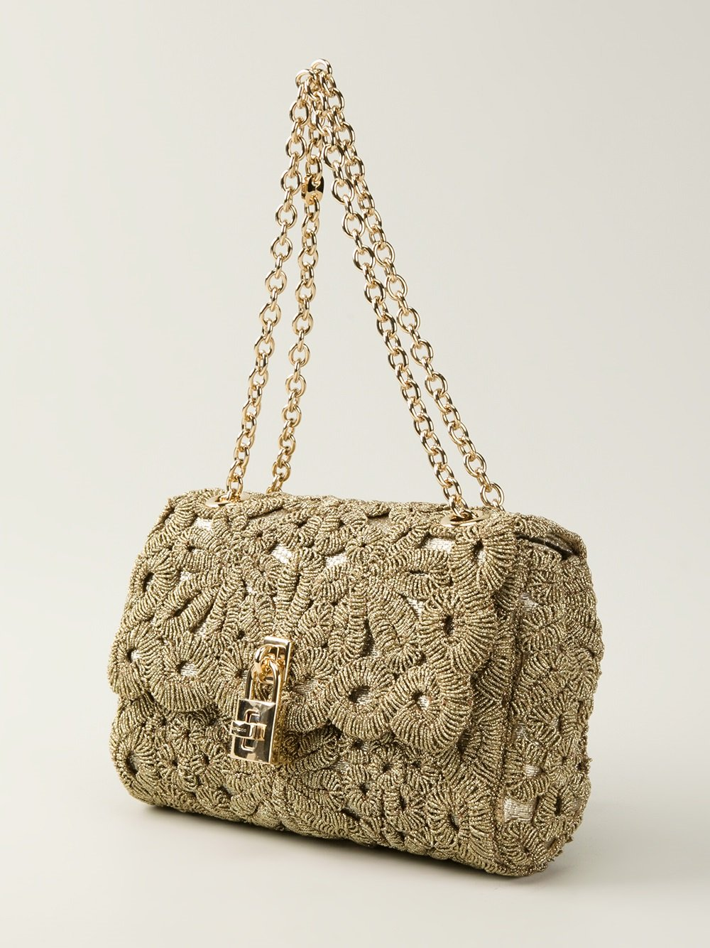 Crochet Shoulder Bag : Dolce & gabbana Crochet Padlock Shoulder Bag in Metallic Lyst