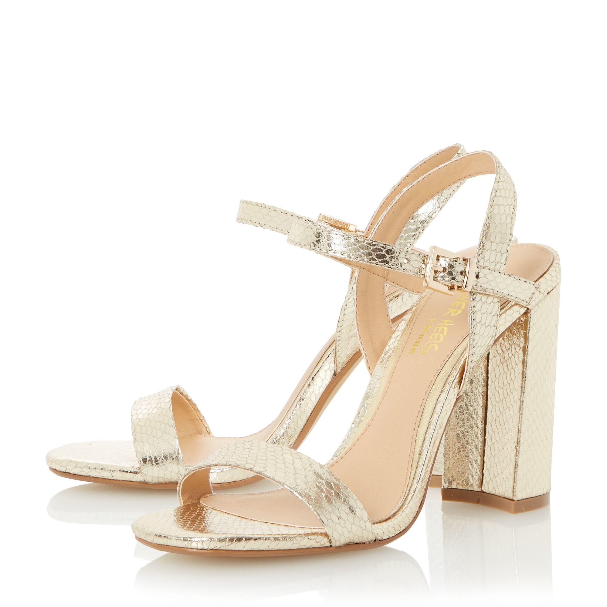 Gold Block Heels - Is Heel