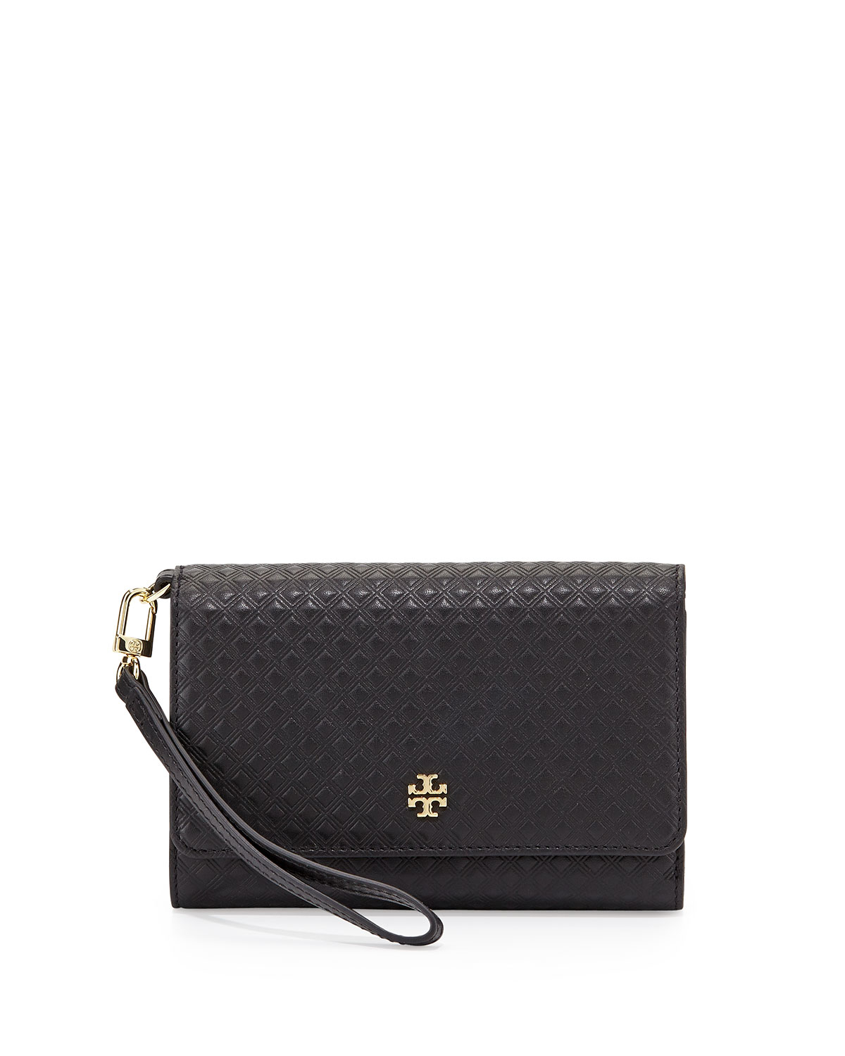 Tory burch Marion Quilted Leather Wristlet Wallet in Black   Lyst : quilted wristlet - Adamdwight.com