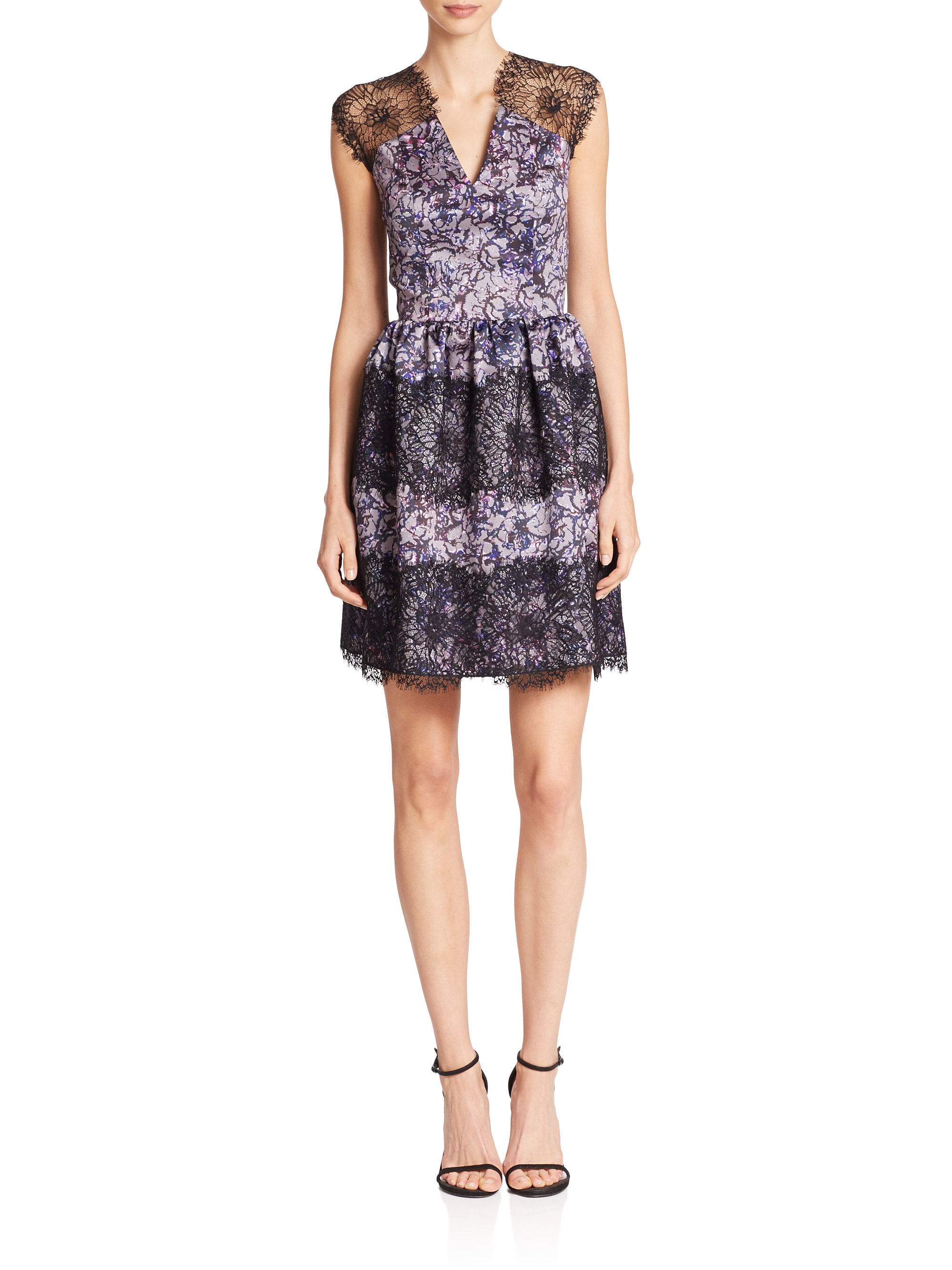 Nha khanh Claudia Floral Satin & Lace Dress in Blue
