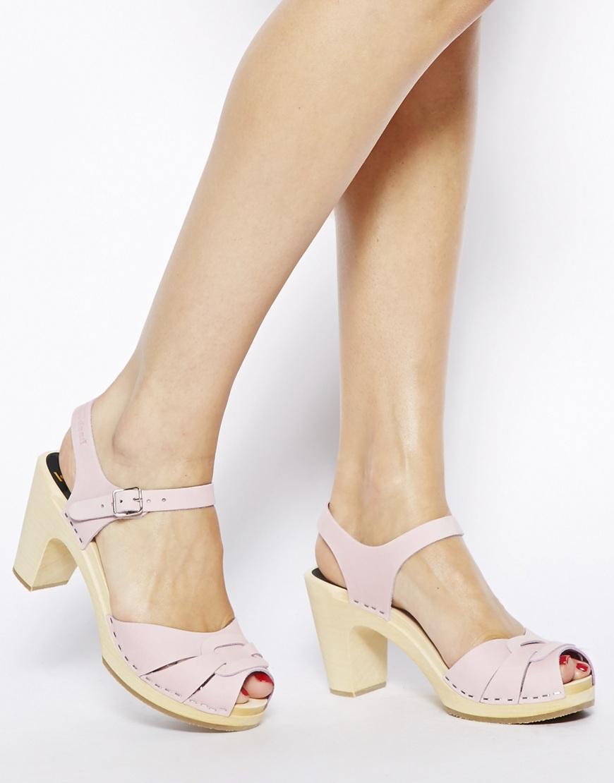 b1aee6abb7 Swedish Hasbeens Pink Peep Toe Super High Heeled Sandals in Pink - Lyst