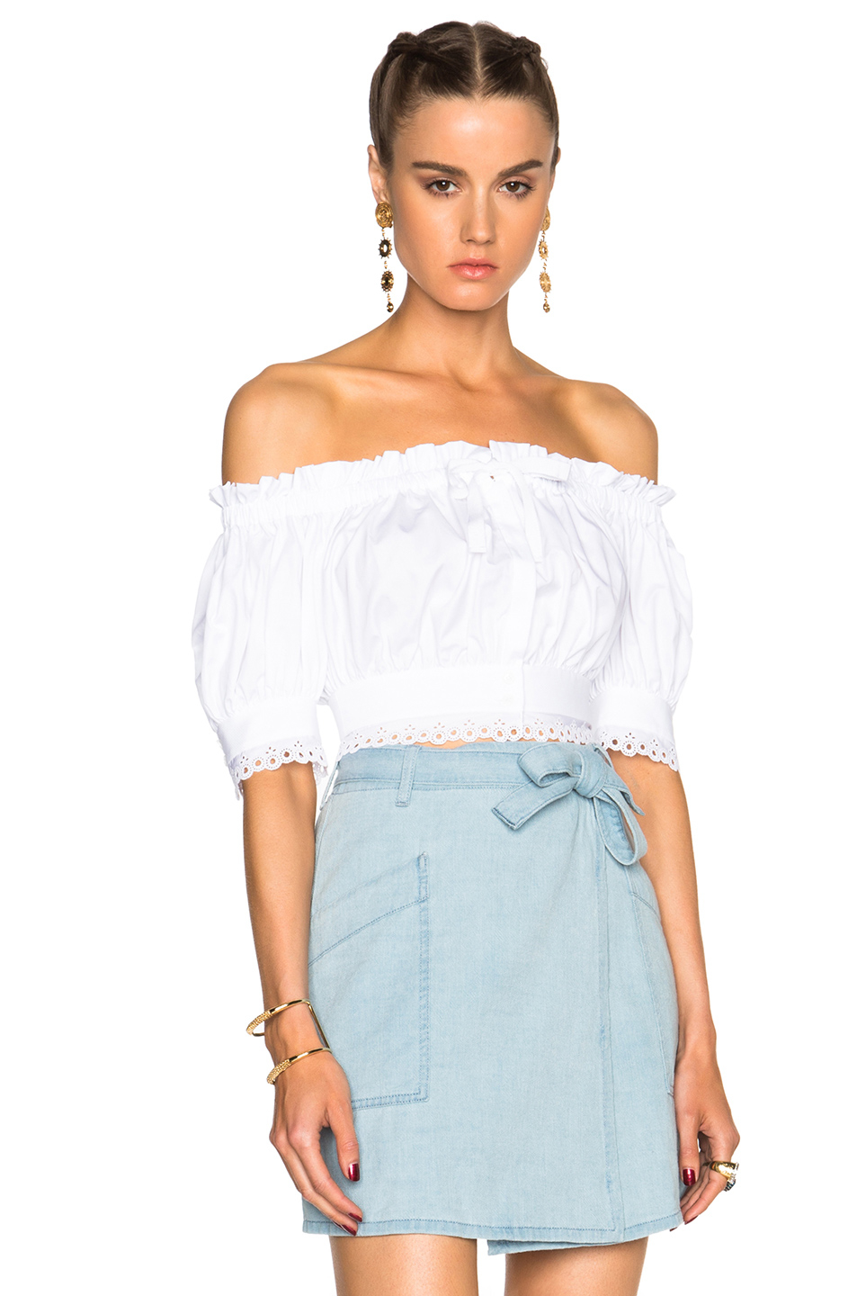 b1f24bf8a6cb1b Lyst - Alexander McQueen Off Shoulder Crop Top in White