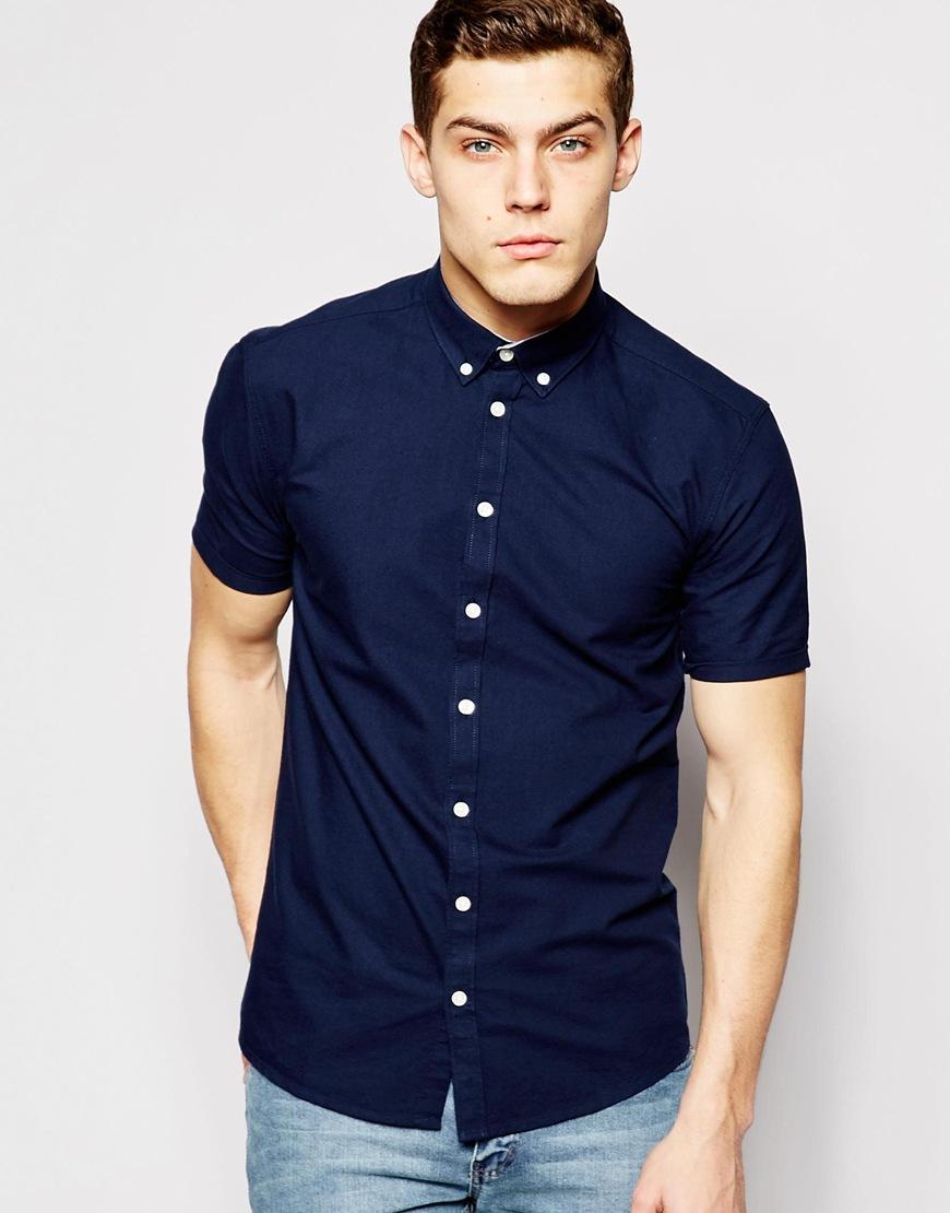 Lyst minimum oxford shirt short sleeves in blue for men for Mens blue oxford shirt