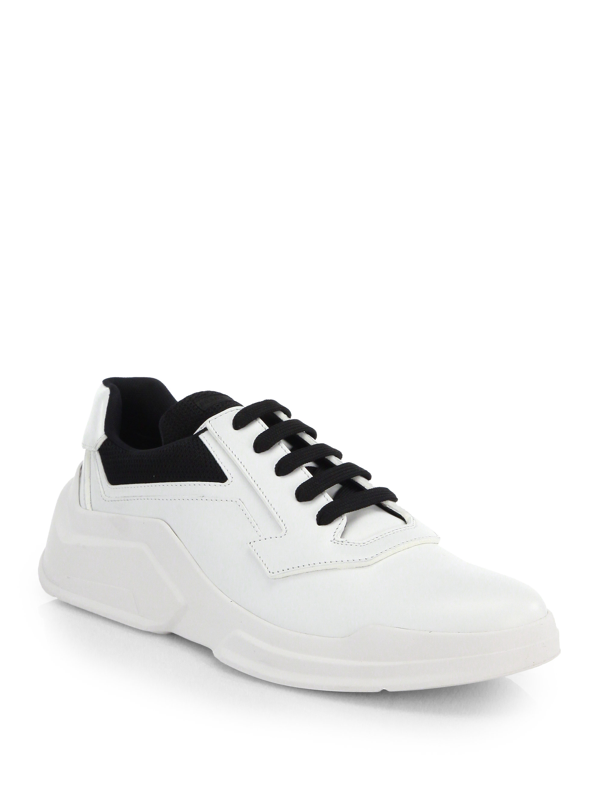 Lyst Prada Spazzolato Laced Runway Sneakers In White For Men