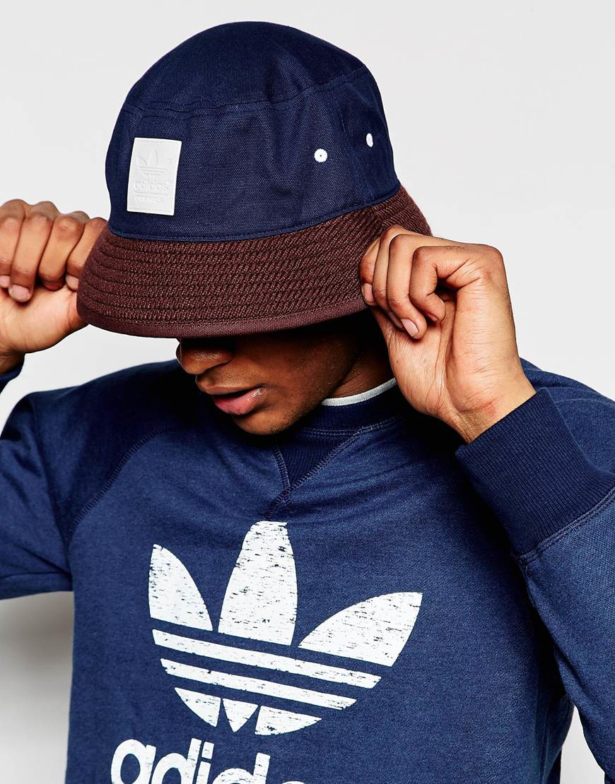 663b08ef429 ... wholesale lyst adidas originals bucket hat ab3930 blue in blue for men  eb535 51eec