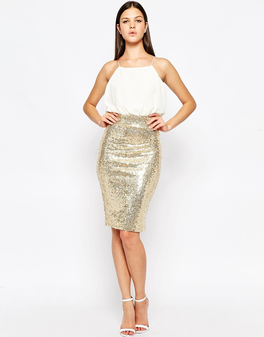 Midi Sequin Skirt - Skirts