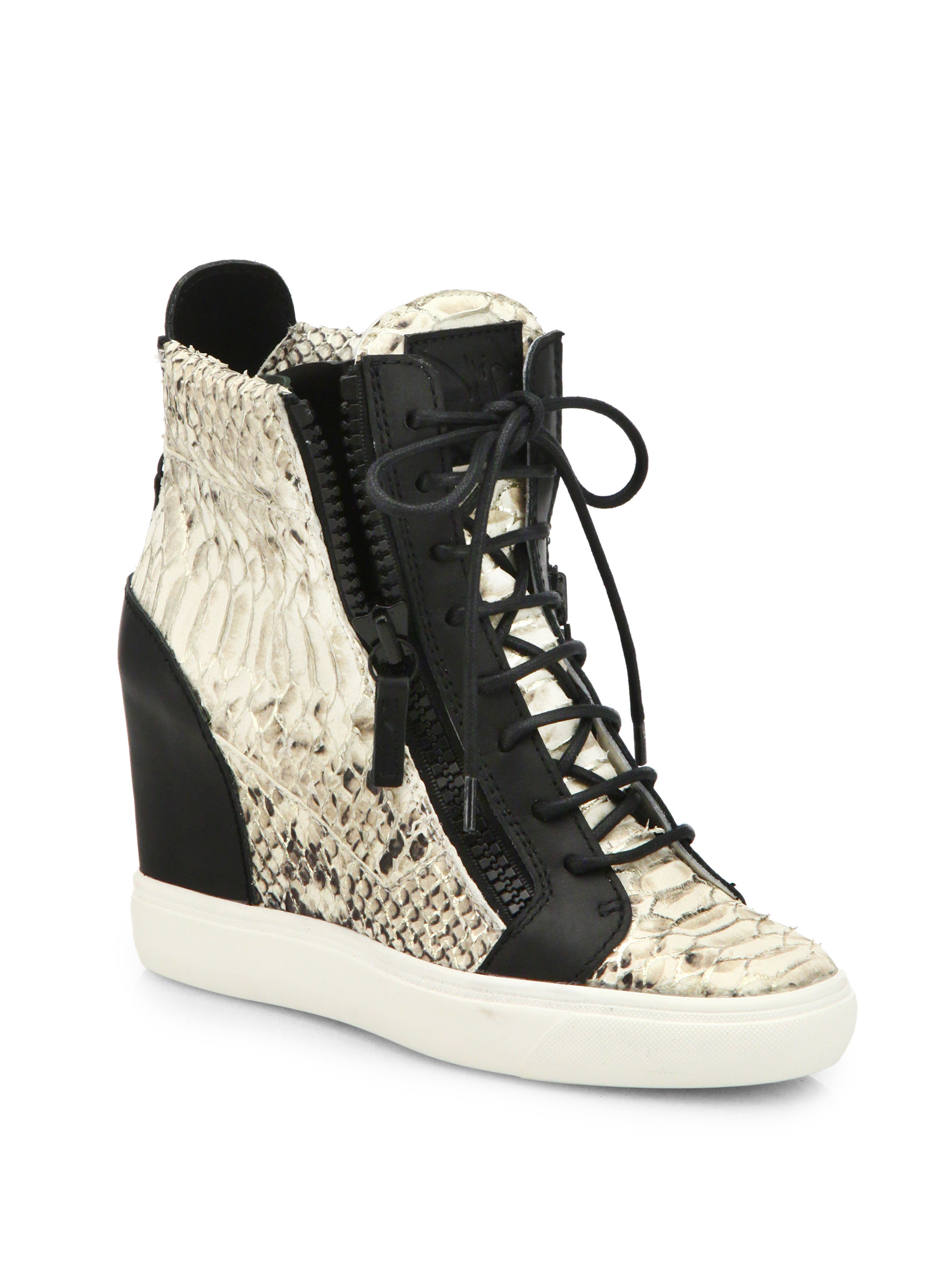 Lyst Giuseppe Zanotti Python Amp Leather Wedge Sneakers In