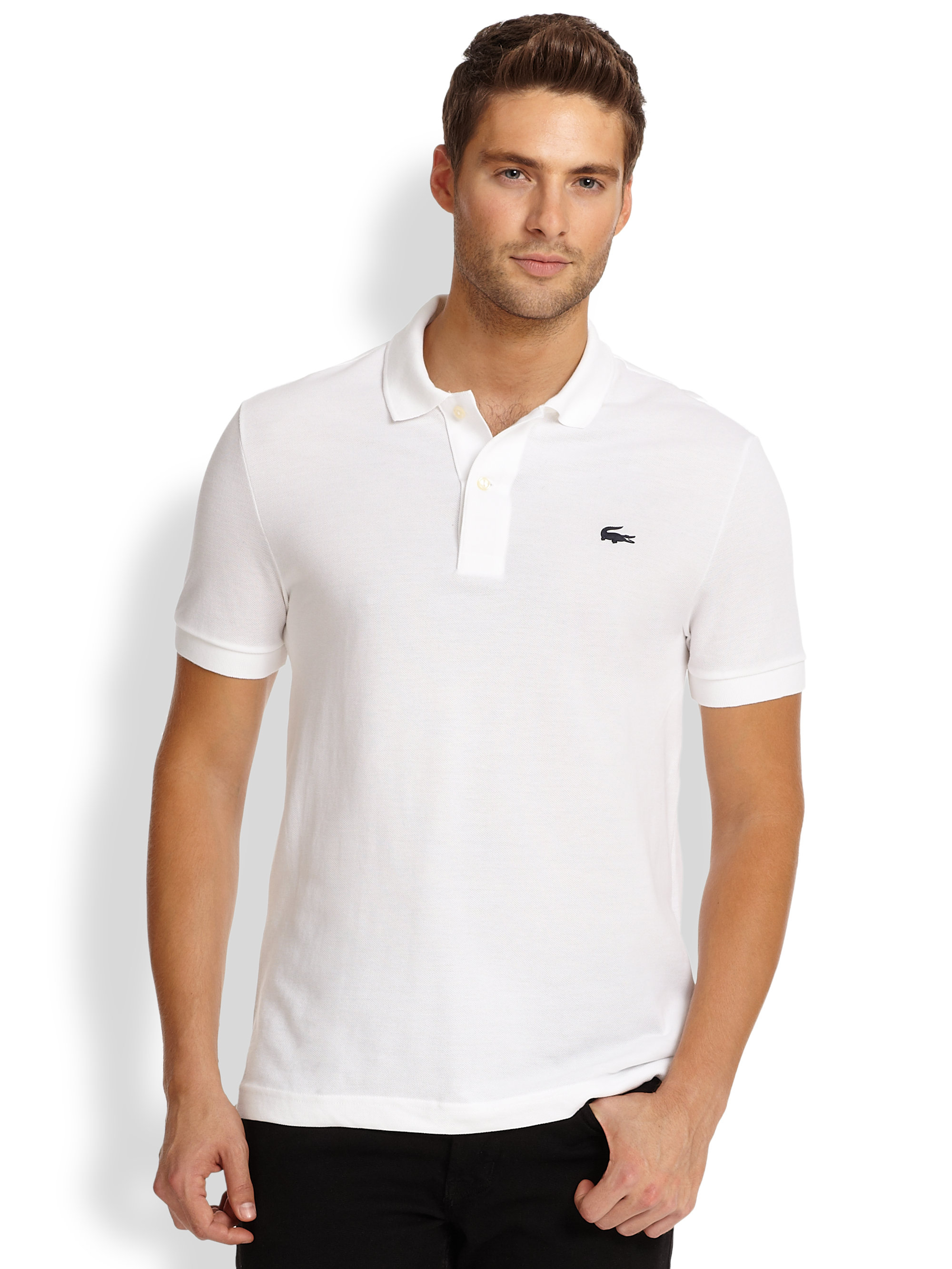 lacoste piqu knit rubber logo polo in white for men lyst. Black Bedroom Furniture Sets. Home Design Ideas