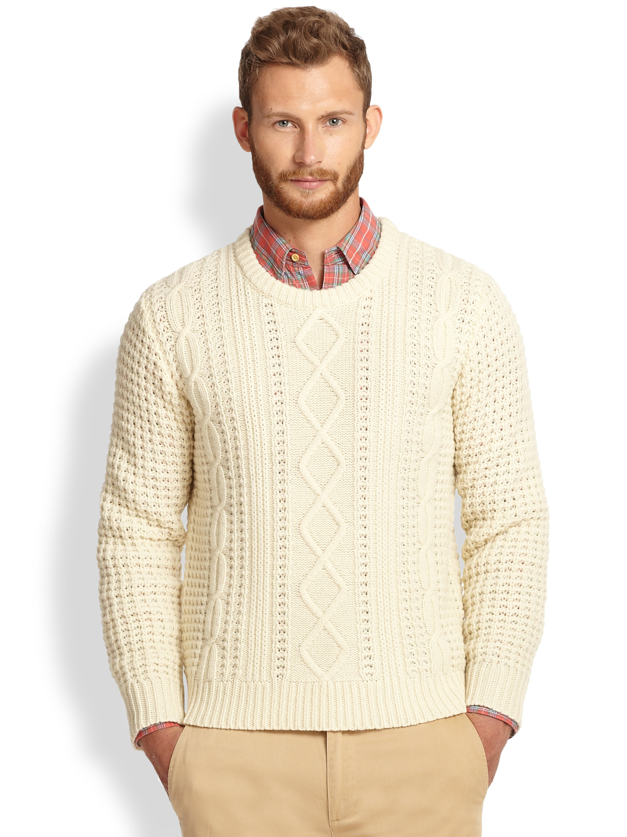 Gant rugger Lambswool Cable Knit Sweater in Natural for Men | Lyst