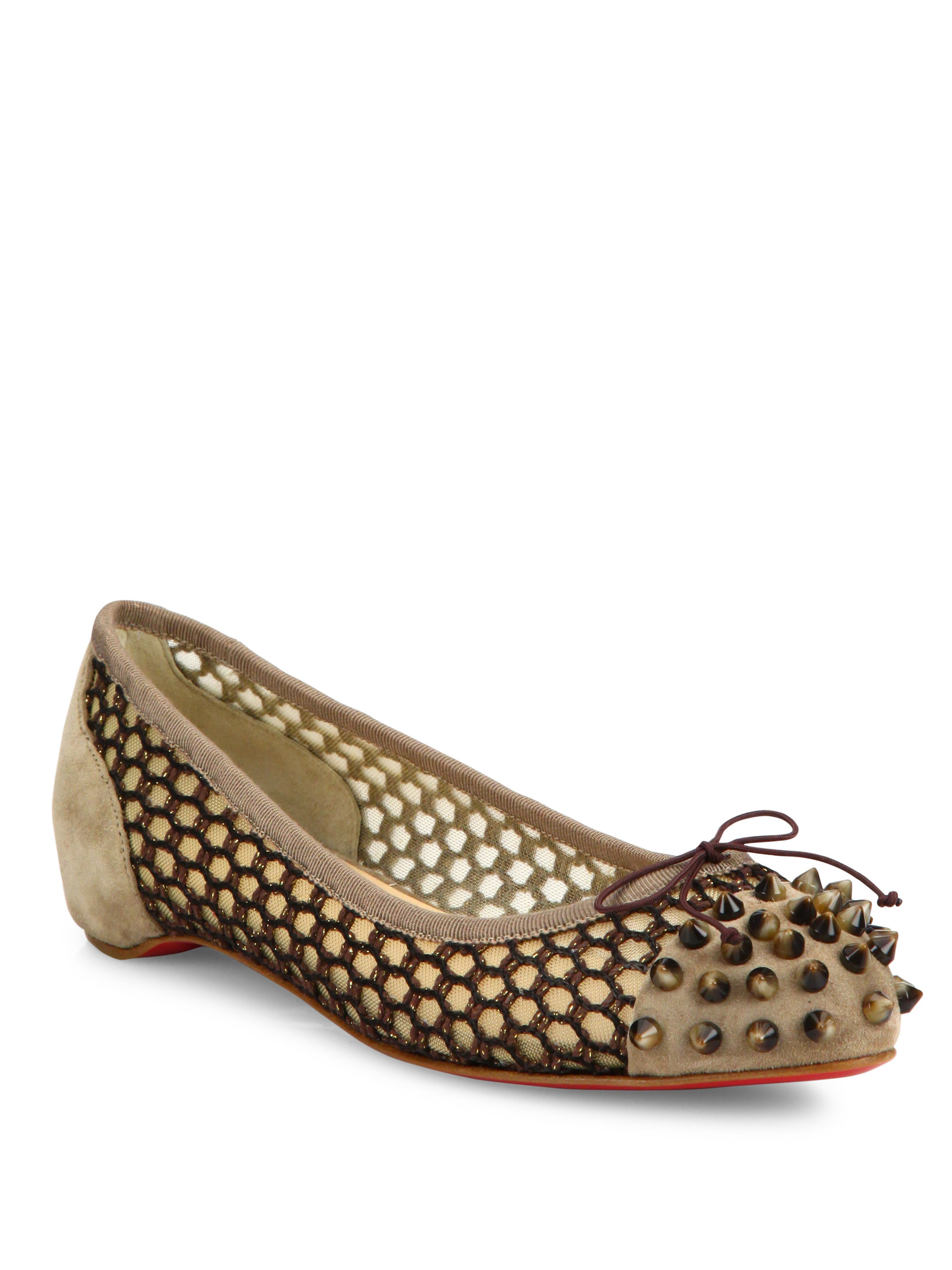 black spiked christian louboutin heels - Christian louboutin Mix Spiked Suede & Knotted Mesh Flats in Beige ...