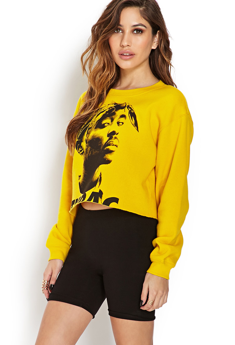 Lyst Forever 21 Tupac Cropped Cutoff Sweatshirt In Yellow