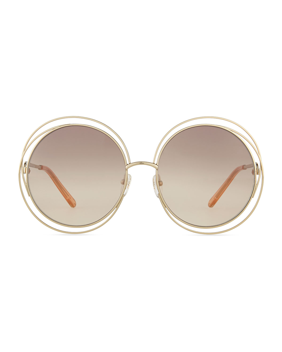 Chloe Gold Frame Sunglasses : Chloe Carlina Round Wire Metal Sunglasses in Pink Lyst