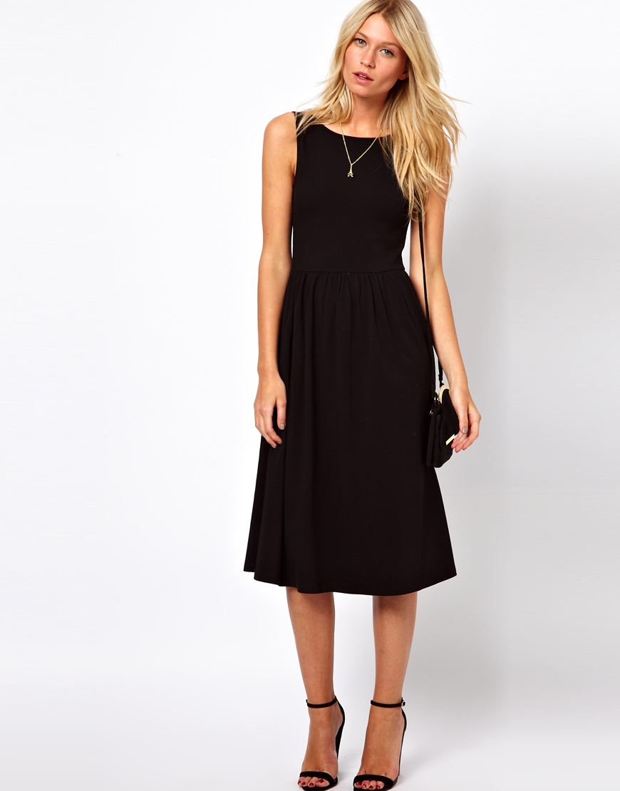 aa1df4bd518 ASOS Midi Fit And Flare Dress With Scoop Back in Black - Lyst