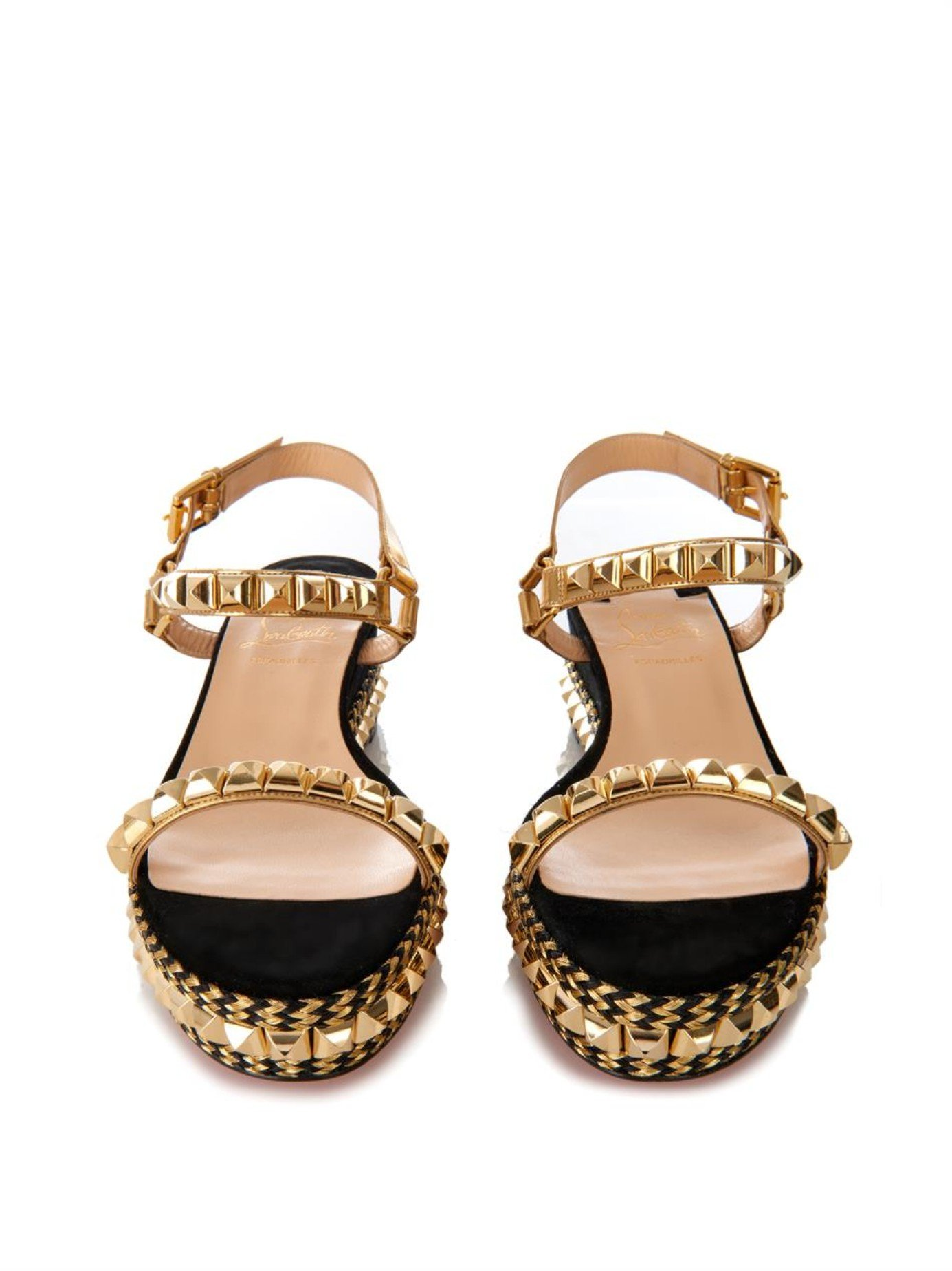 8525a027992 ... switzerland christian louboutin cataclou studded flatform sandals in  metallic lyst 8c786 43309
