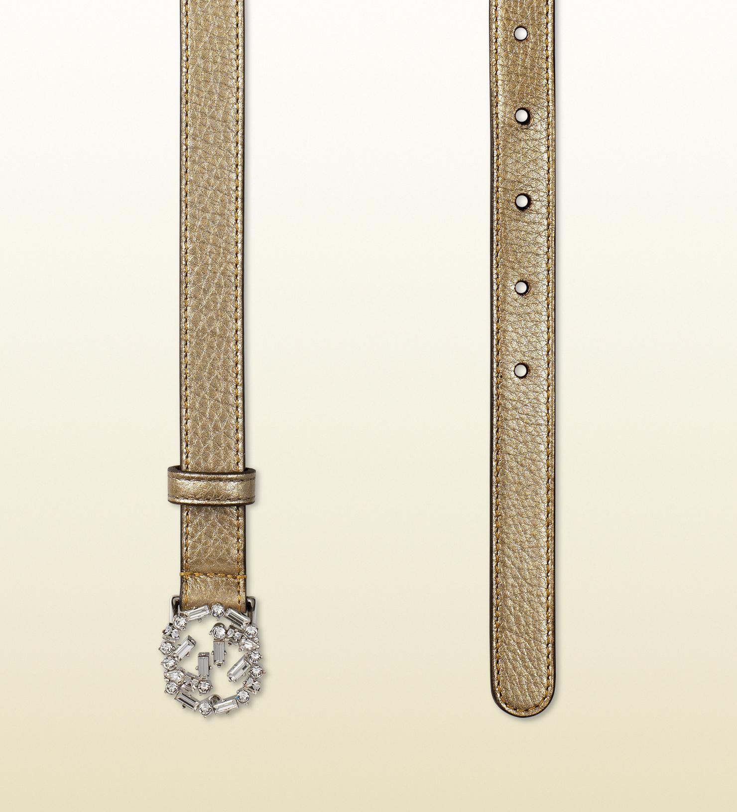 0728cf1f5b99 Lyst - Gucci Metallic Leather Belt With Crystal Interlocking G ...
