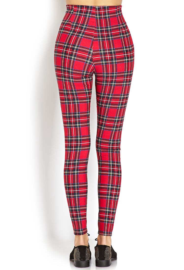 Forever 21 Highwaisted Plaid Pants in Red | Lyst