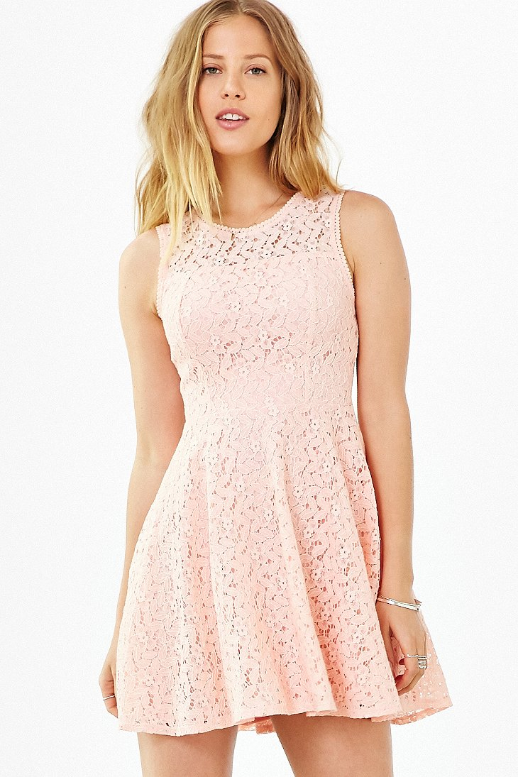 ae96299168 Lyst - Kimchi Blue Lace Sheer Fit + Flare Dress in Pink
