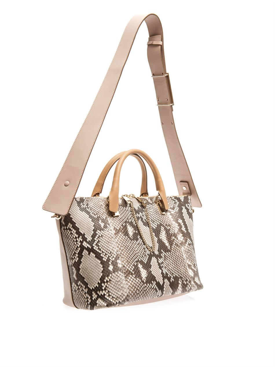 Chlo¨¦ Baylee Bicolour Python and Leather Tote in Beige (Neutral ...