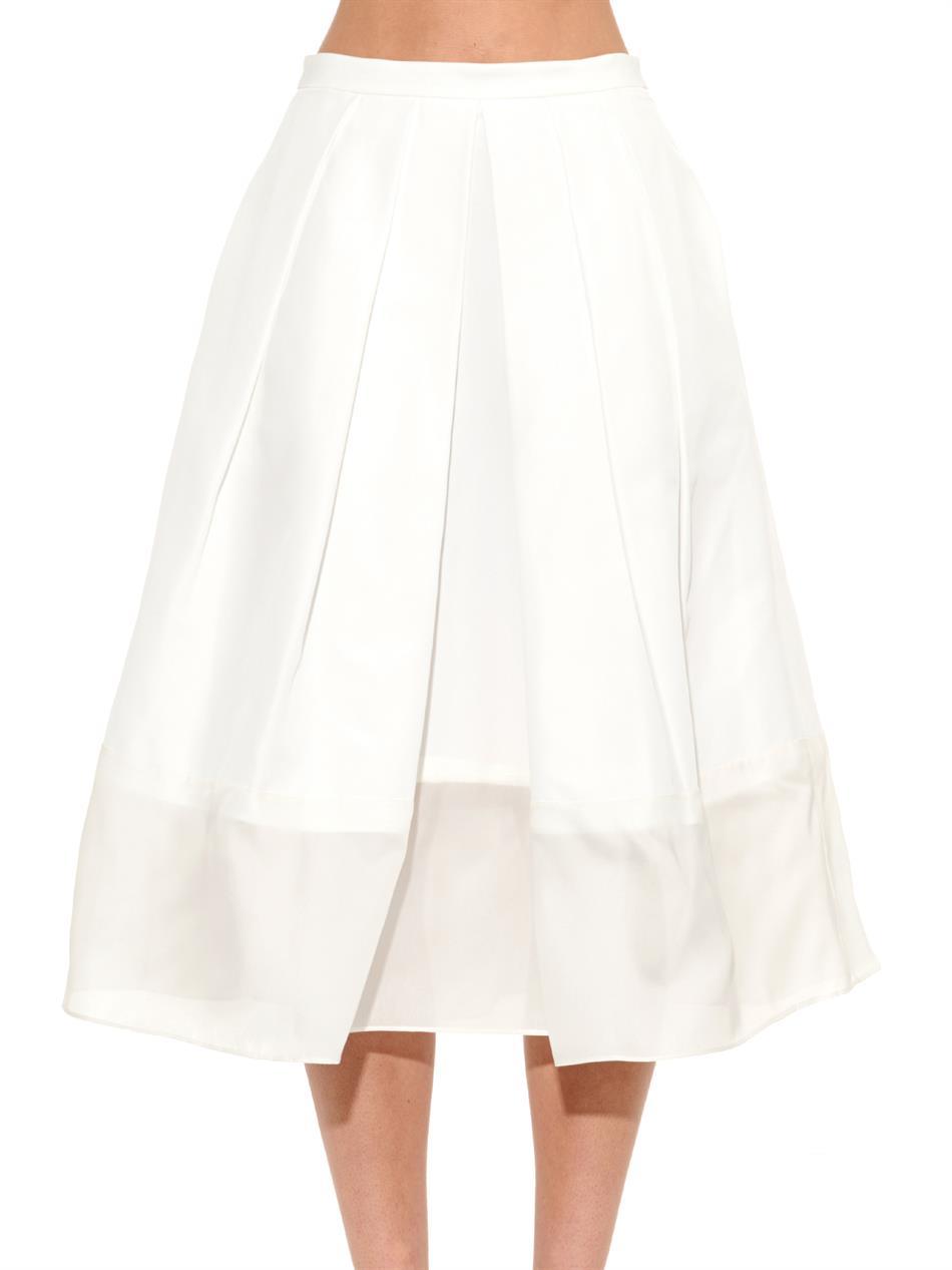 tibi pleated techno faille organza trim skirt in white lyst