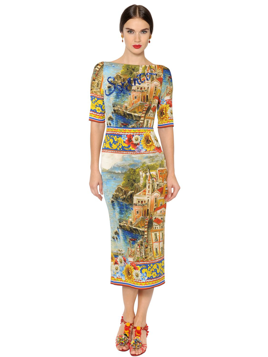 Lyst Dolce Amp Gabbana Sorrento Printed Silk Charmeuse Dress