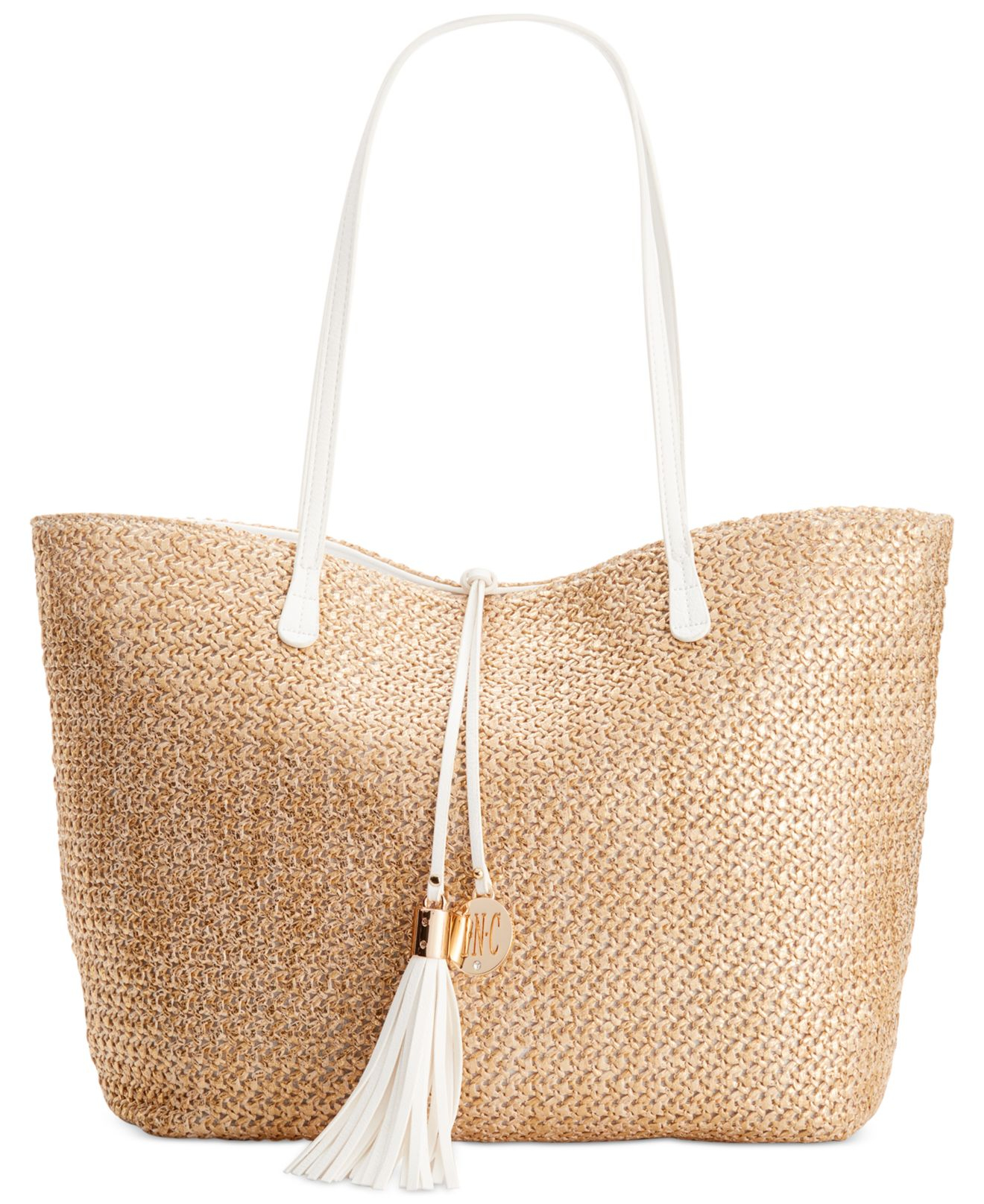 Inc International Concepts Tropical Beach Bag In Metallic
