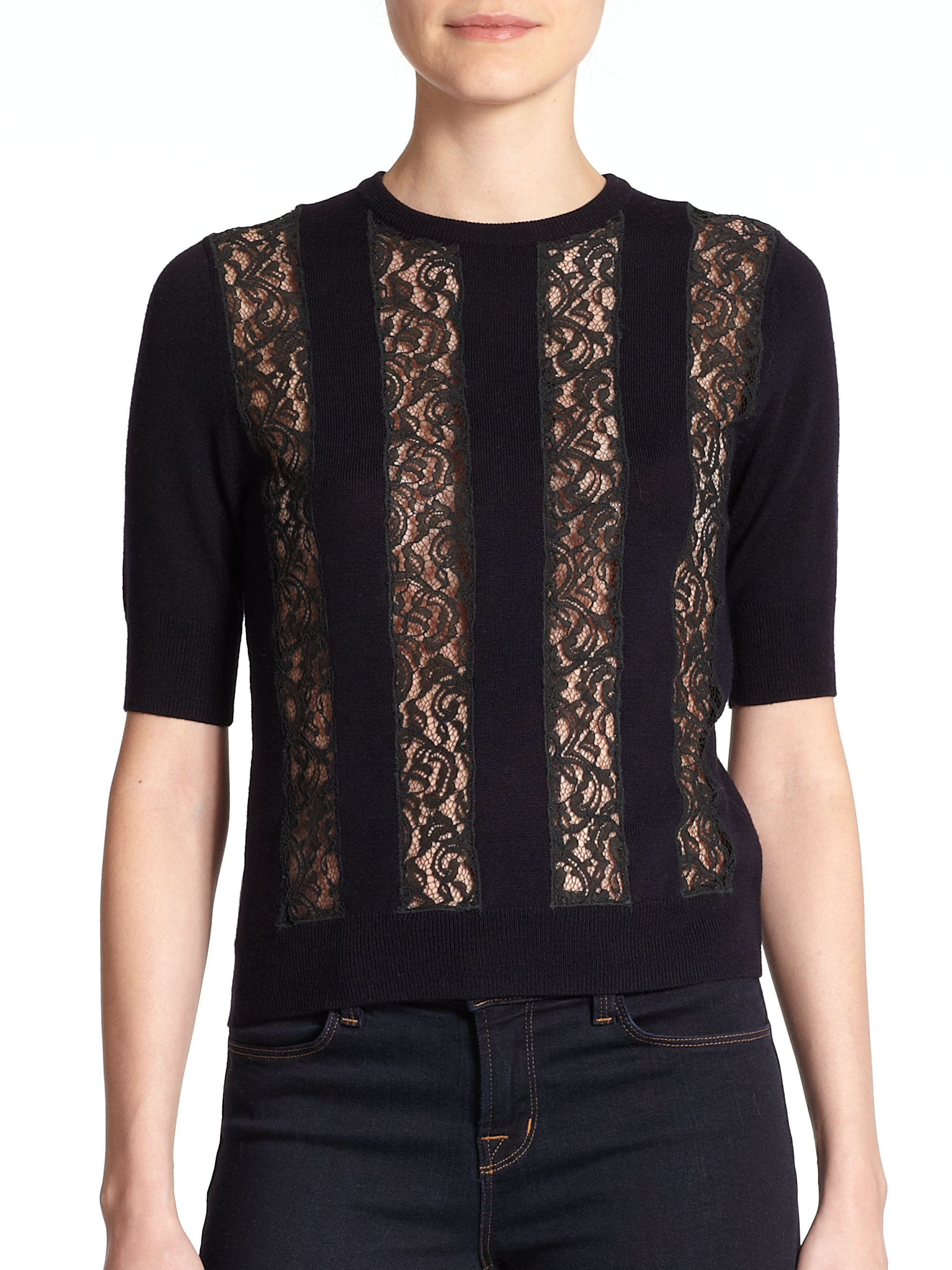 Carven Wool Lace-panel Sweater in Blue | Lyst