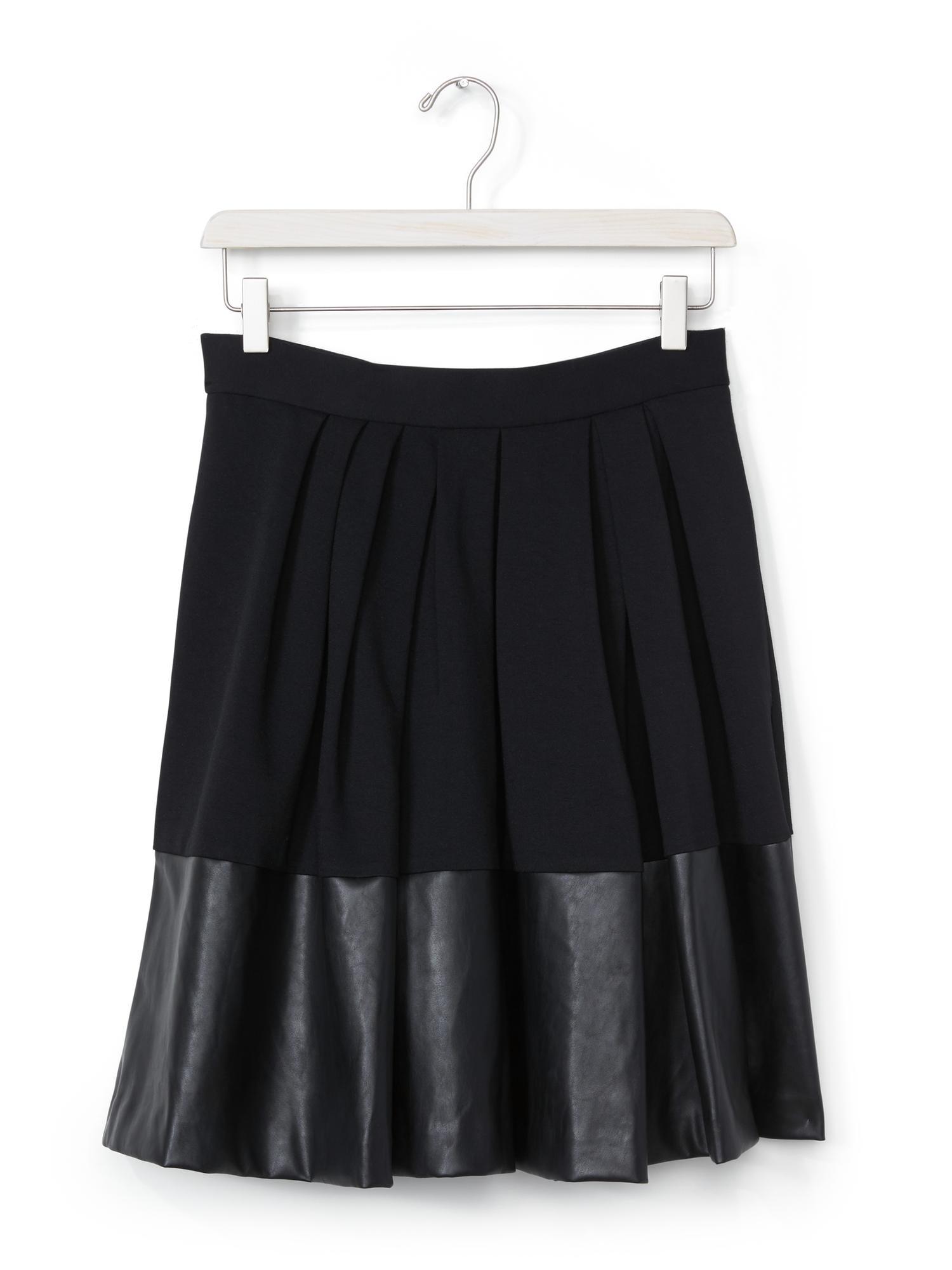 banana republic faux leather hem skirt in black lyst