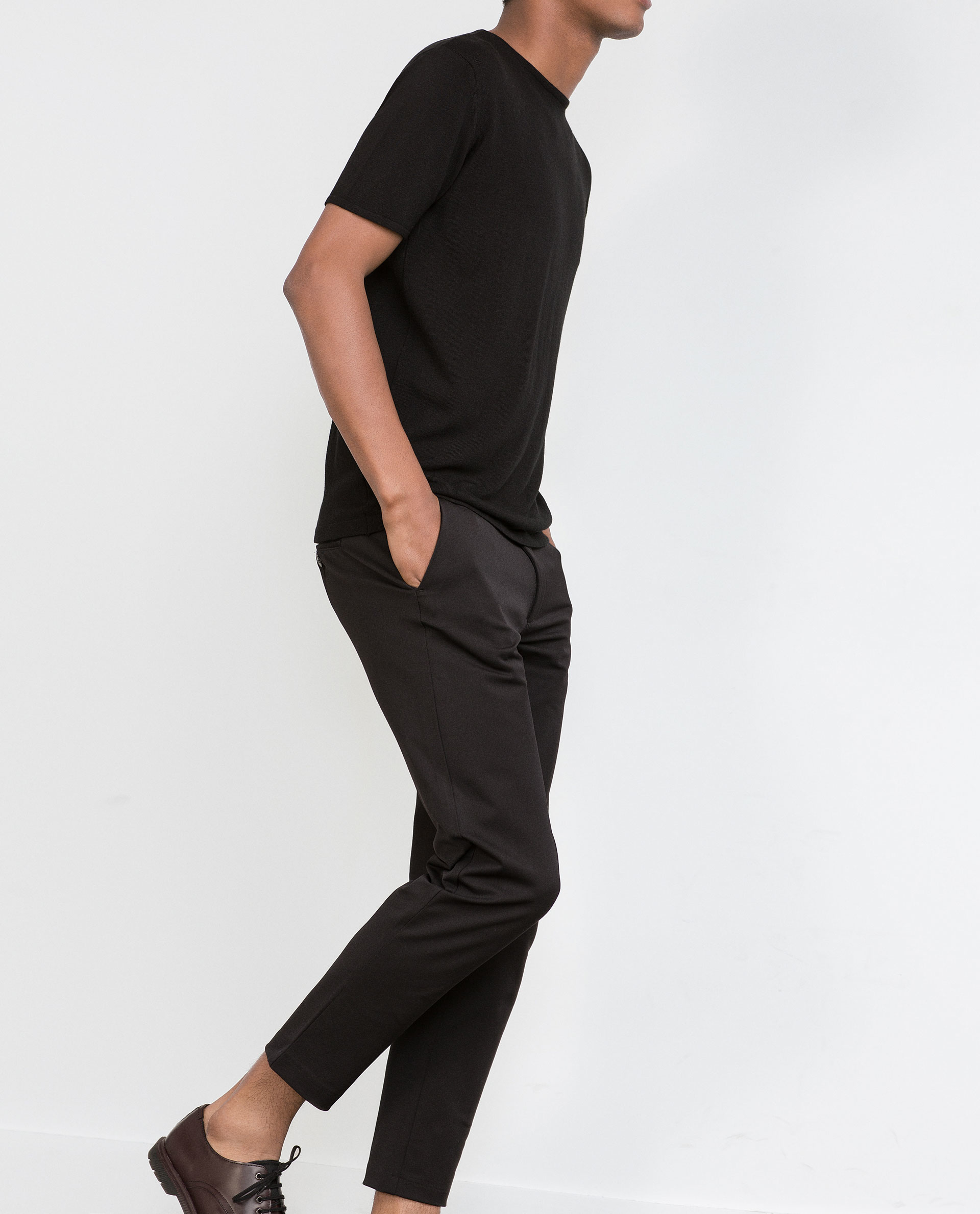 Zara Technical Fabric Trousers In Black For Men | Lyst