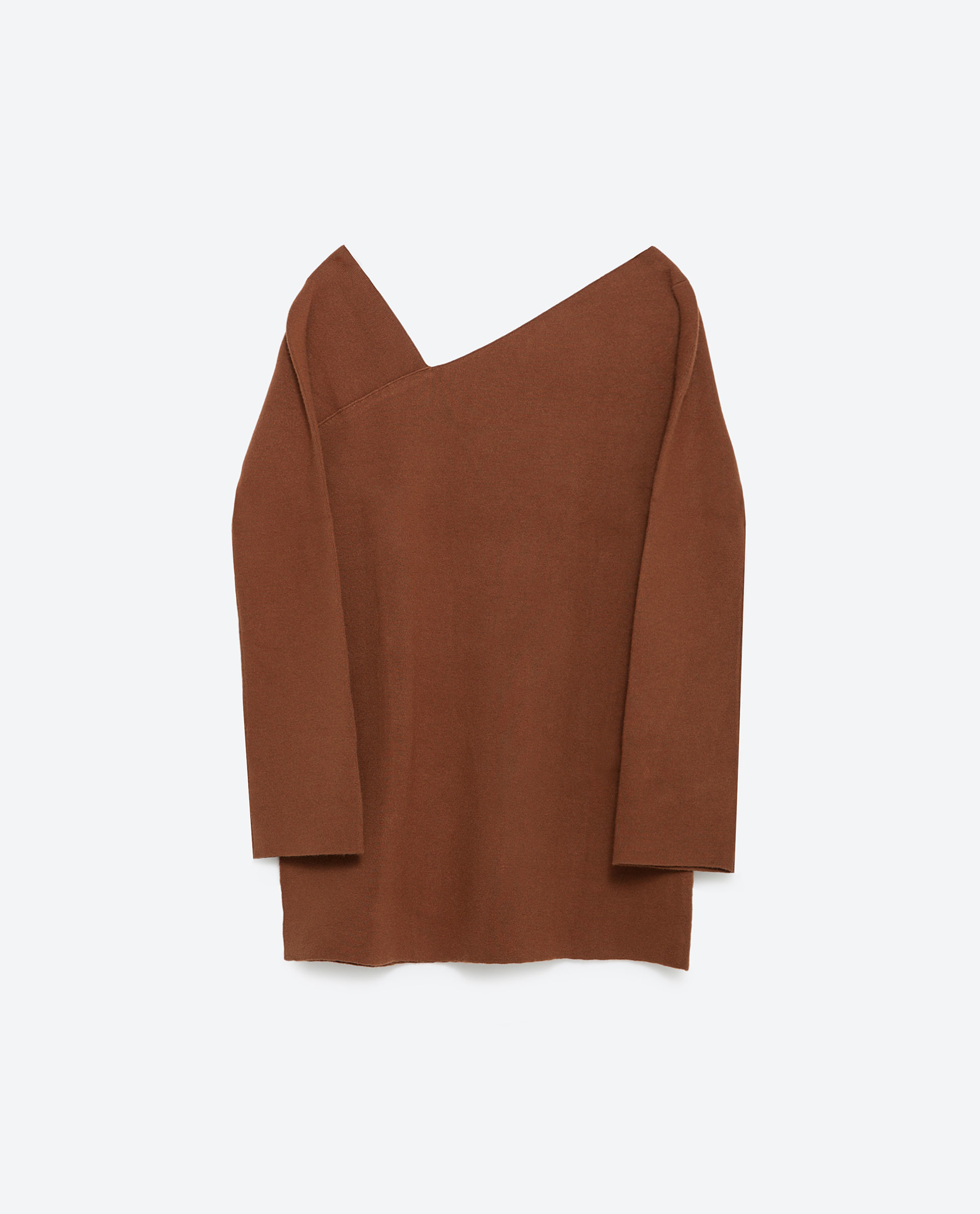 Zara sweater with asymmetric neckline in brown lyst