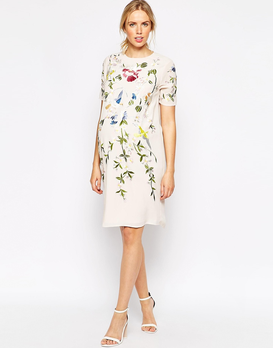 Asos Maternity Shift Dress With Bird And Floral Embroidery ...