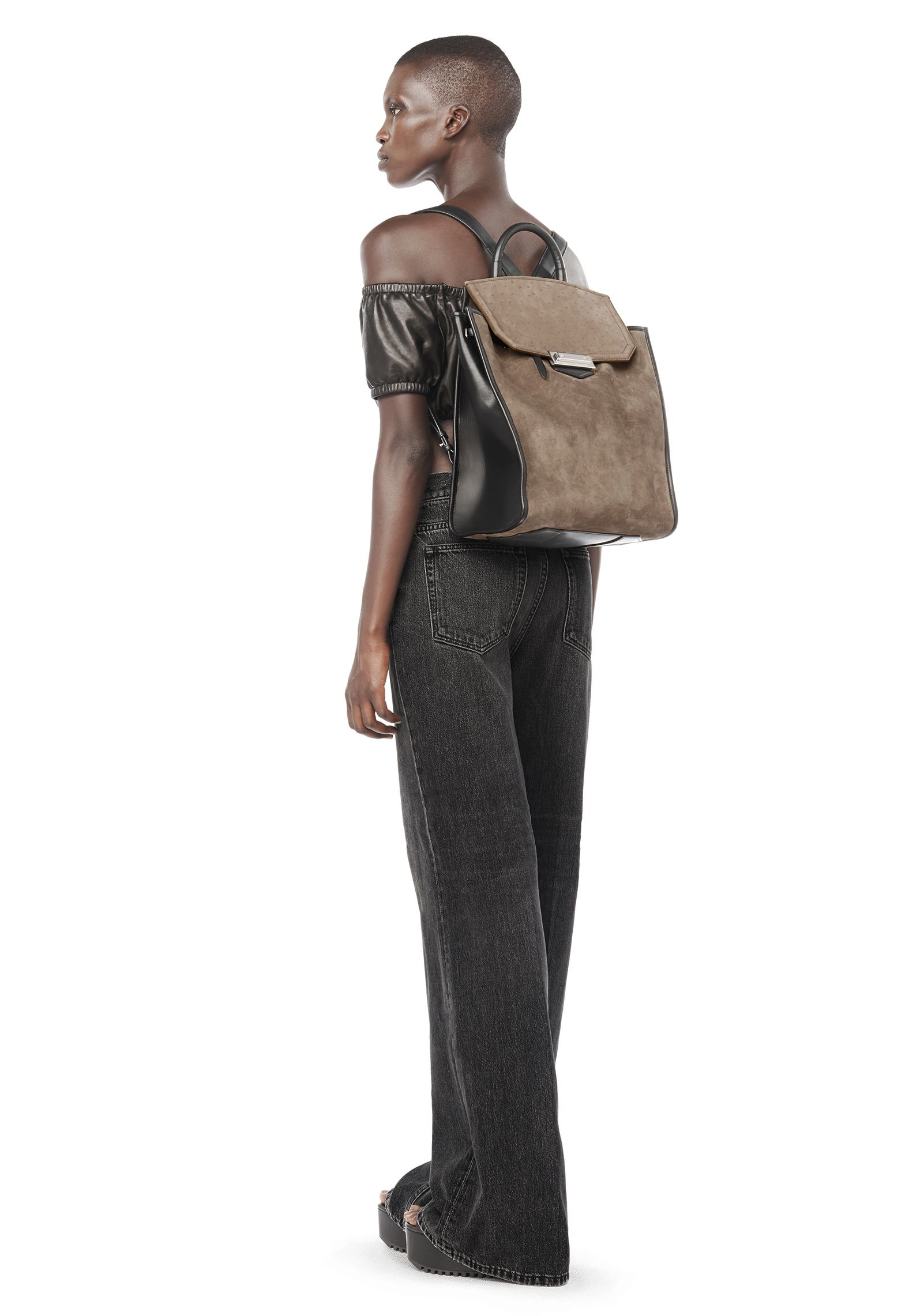2a05a1cb80 Alexander Wang - Gray Prisma Backpack In Suede And Ostrich Embossed Greige  - Lyst